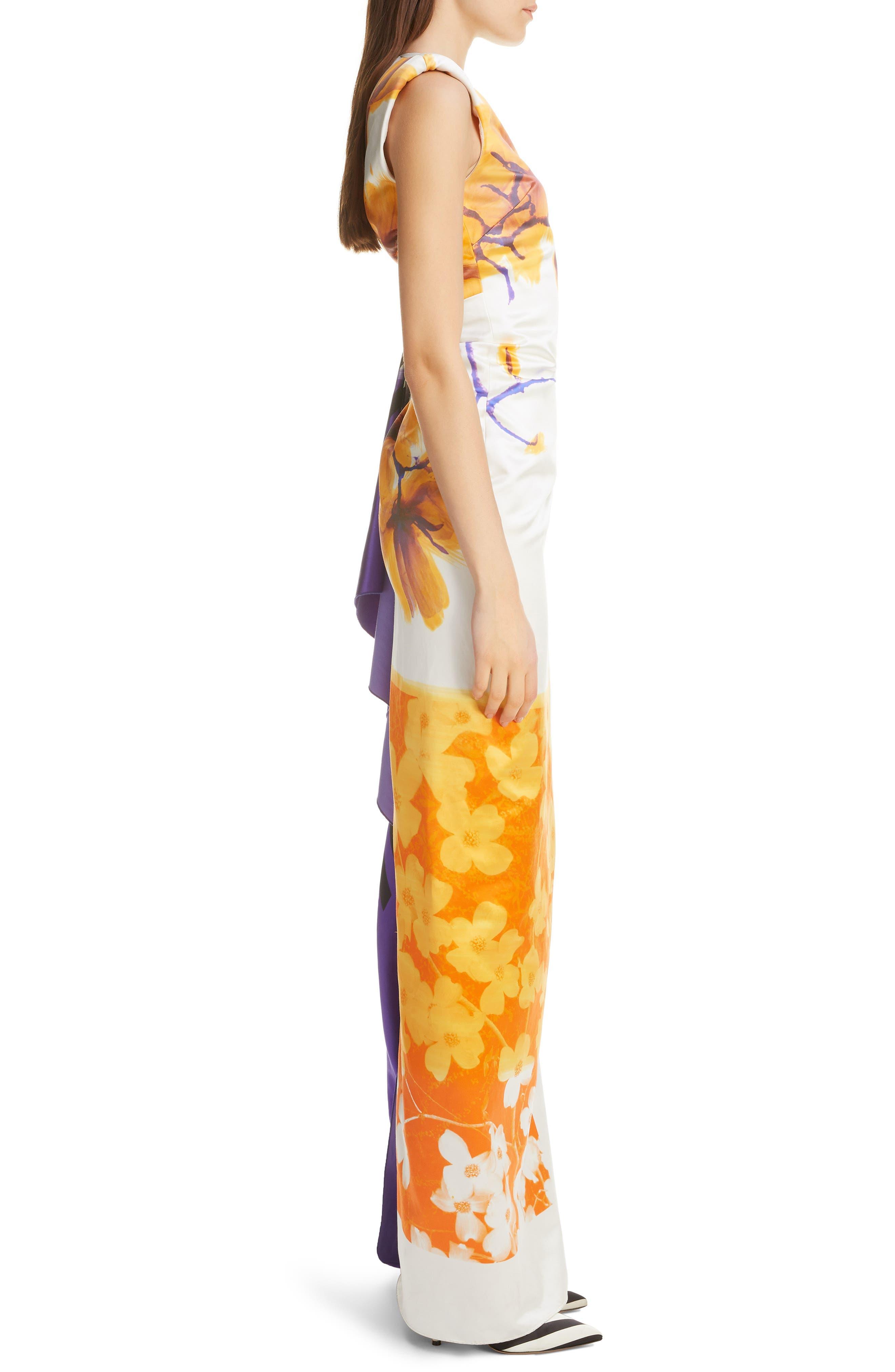 DRIES VAN NOTEN, Hand Painted Floral Evening Dress, Alternate thumbnail 3, color, 100