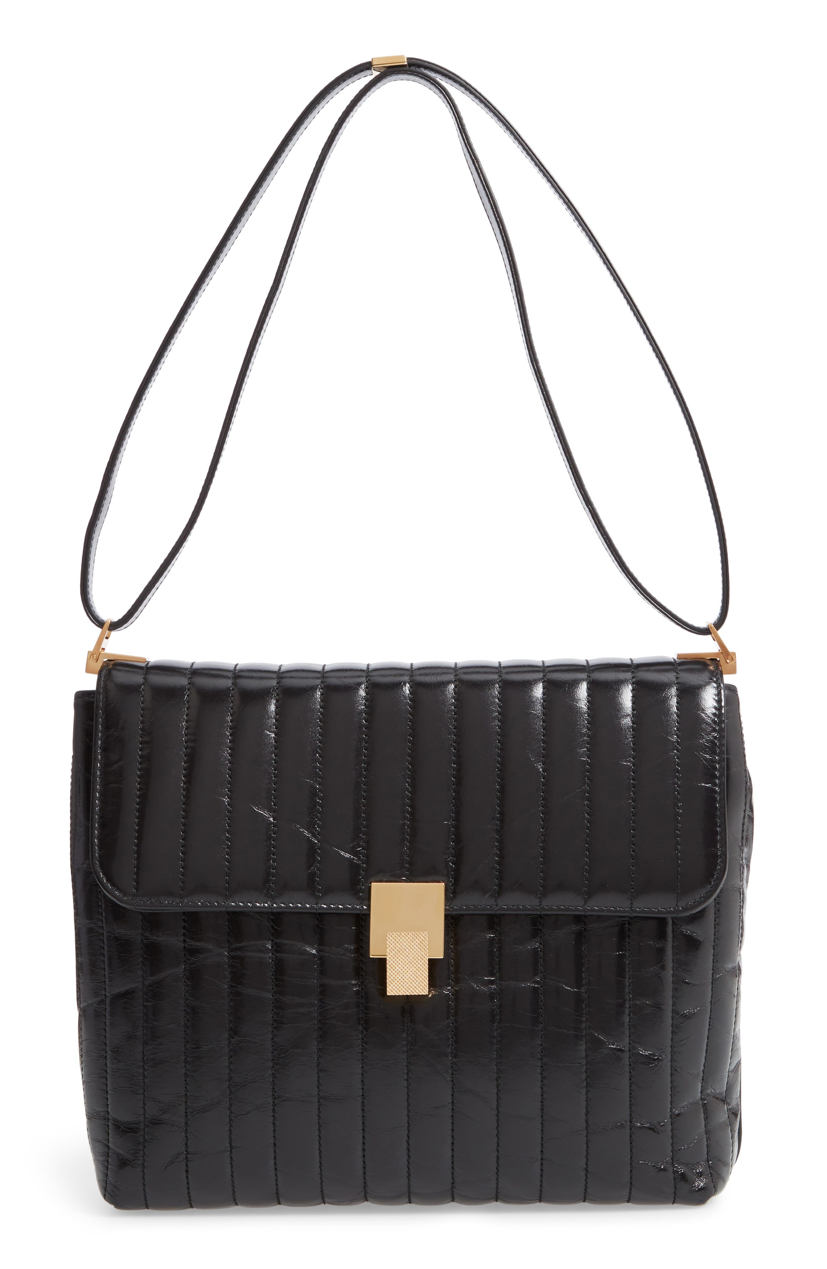 VICTORIA BECKHAM Quinton Quilted Leather Shoulder Bag, Main, color, 001
