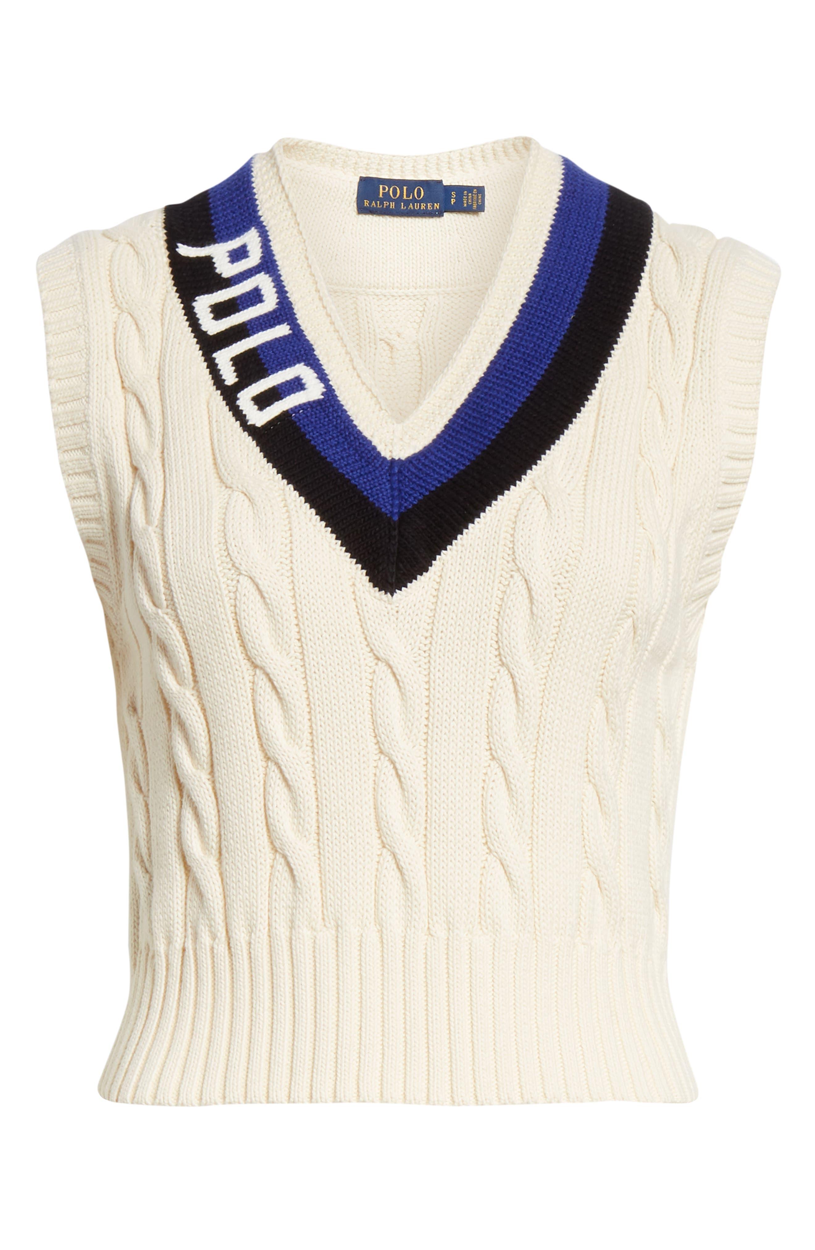 POLO RALPH LAUREN, Cable Sweater Vest, Alternate thumbnail 6, color, CREAM/ BLACK/ ROYAL