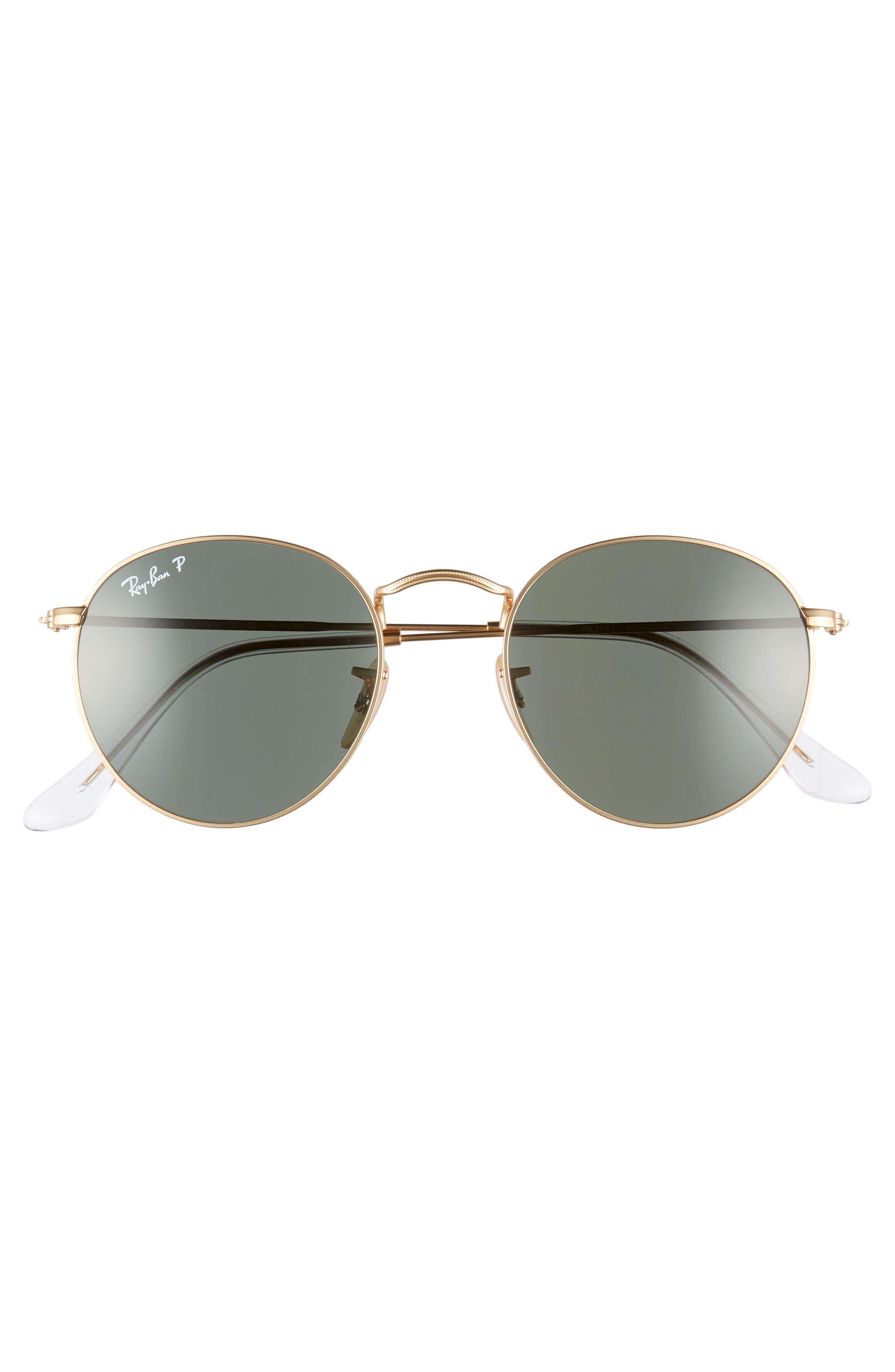 RAY-BAN, 50mm Polarized Round Sunglasses, Alternate thumbnail 3, color, 710