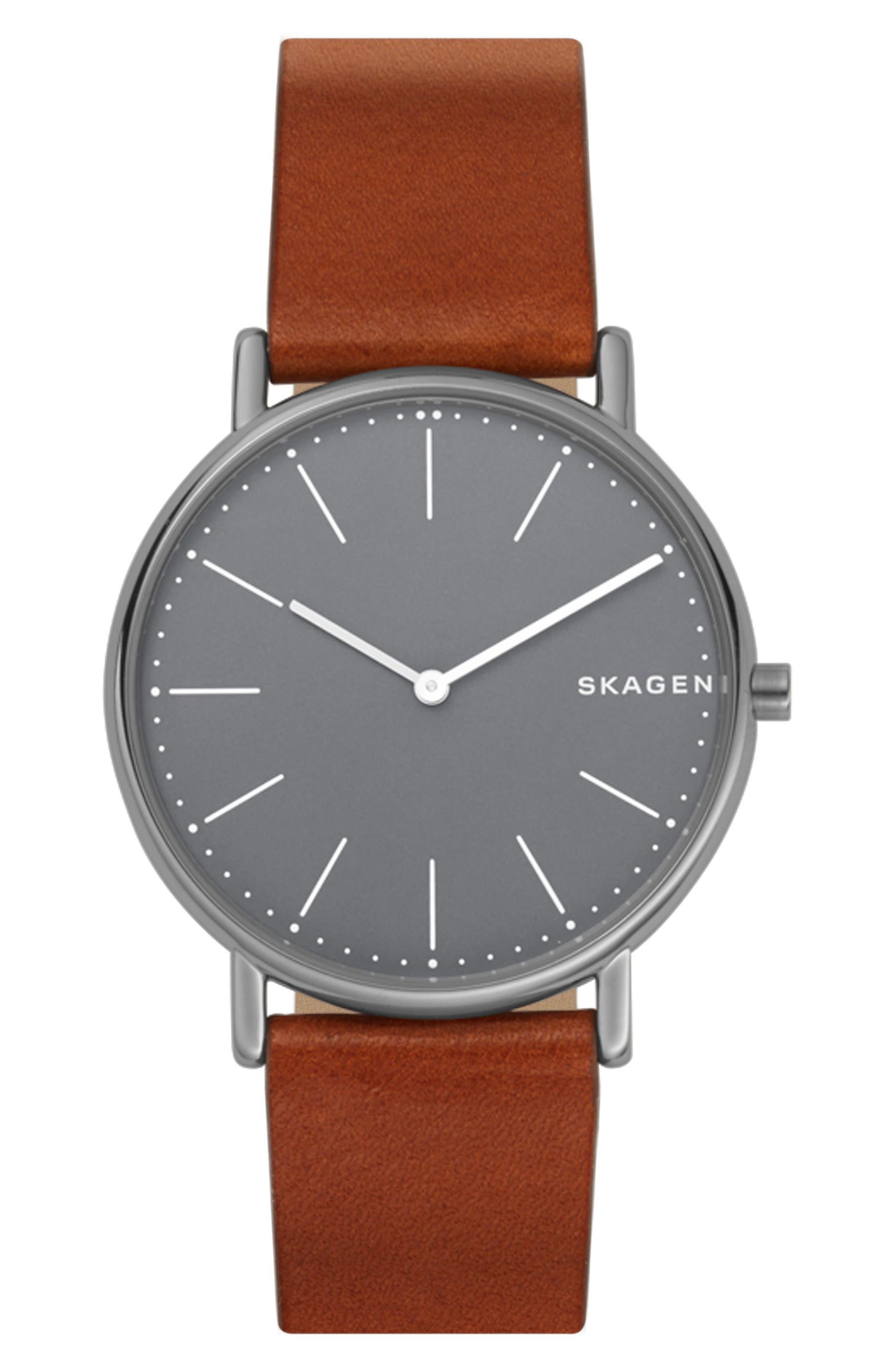 SKAGEN, Signatur Slim Leather Strap Watch, 40mm, Main thumbnail 1, color, BROWN/ GREY