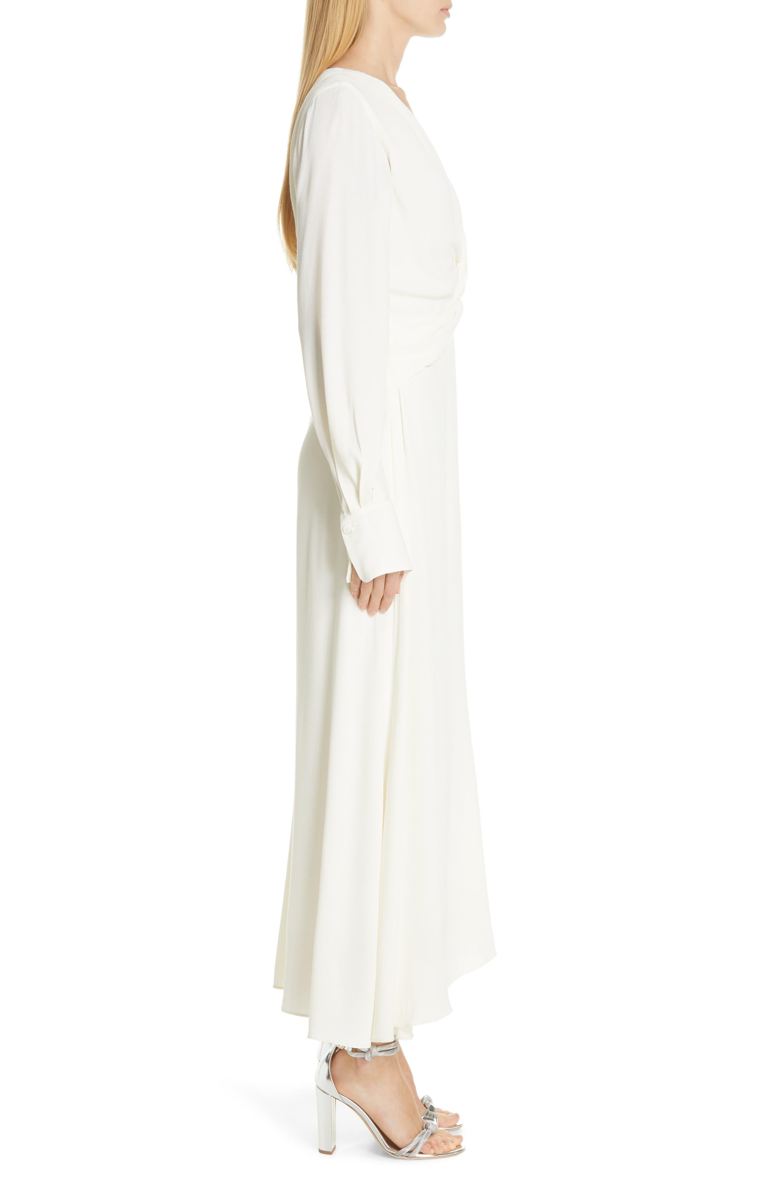 EQUIPMENT, Faun Twist Front Dress, Alternate thumbnail 3, color, NATURE WHITE