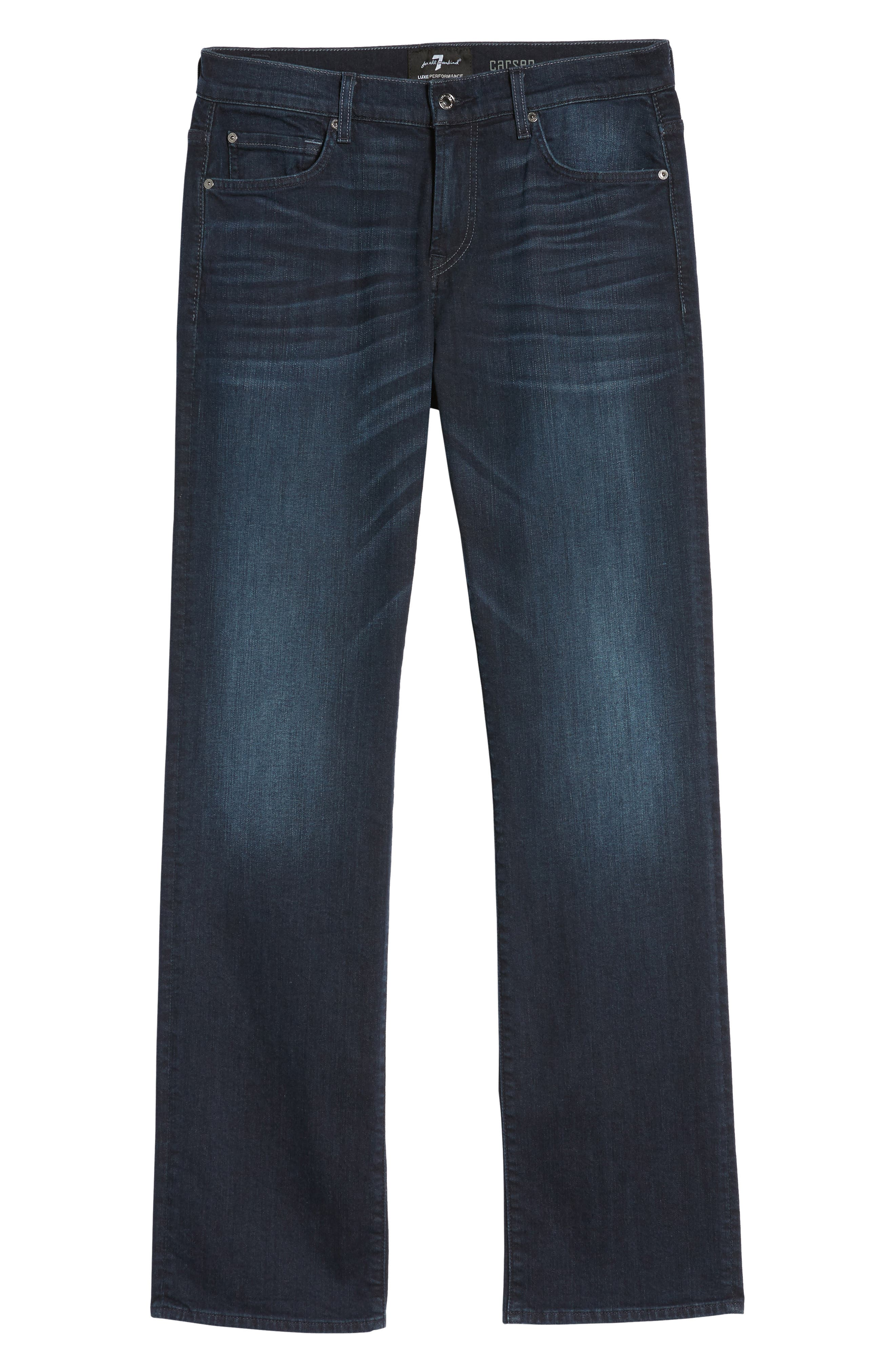 7 FOR ALL MANKIND<SUP>®</SUP>, Luxe Performance - Carsen Straight Leg Jeans, Alternate thumbnail 7, color, DARK CURRENT