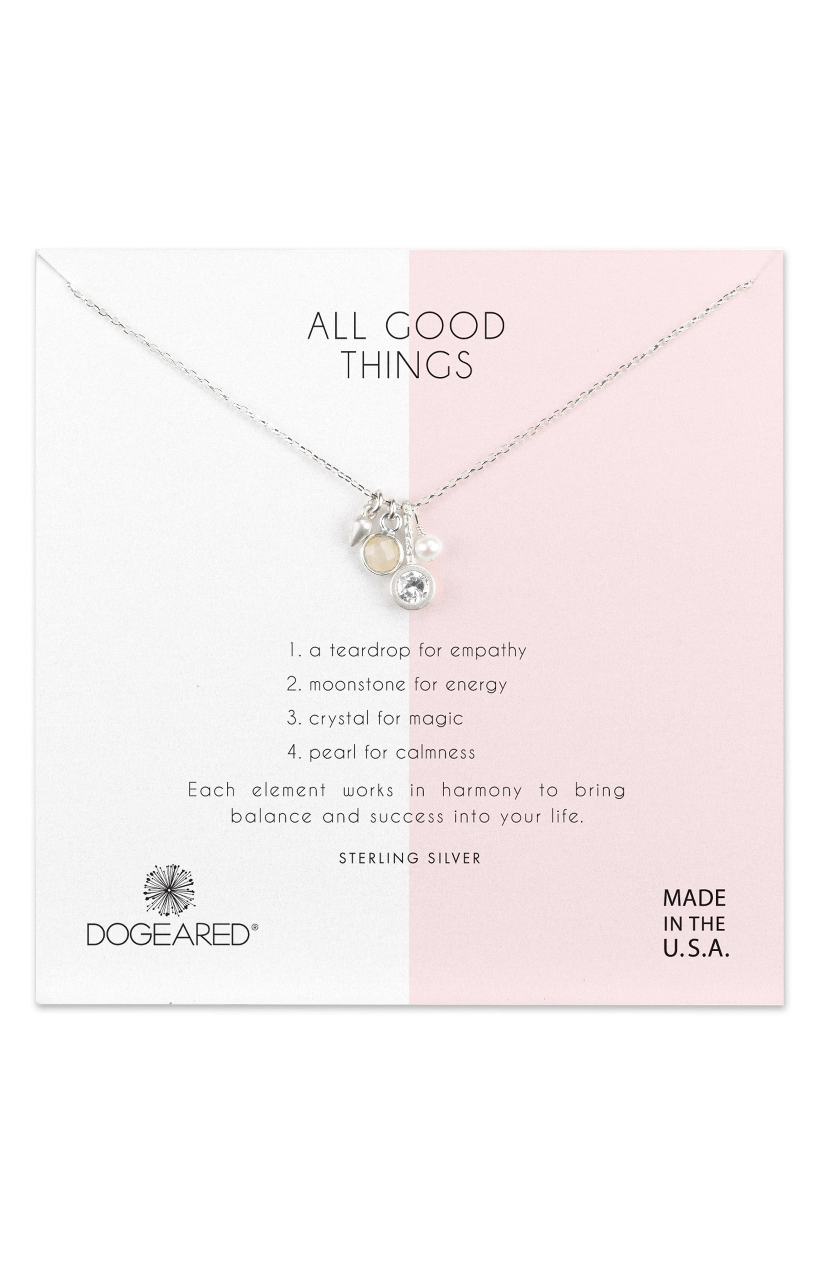 DOGEARED, All Good Things Moonstone Pendant Necklace, Main thumbnail 1, color, 040