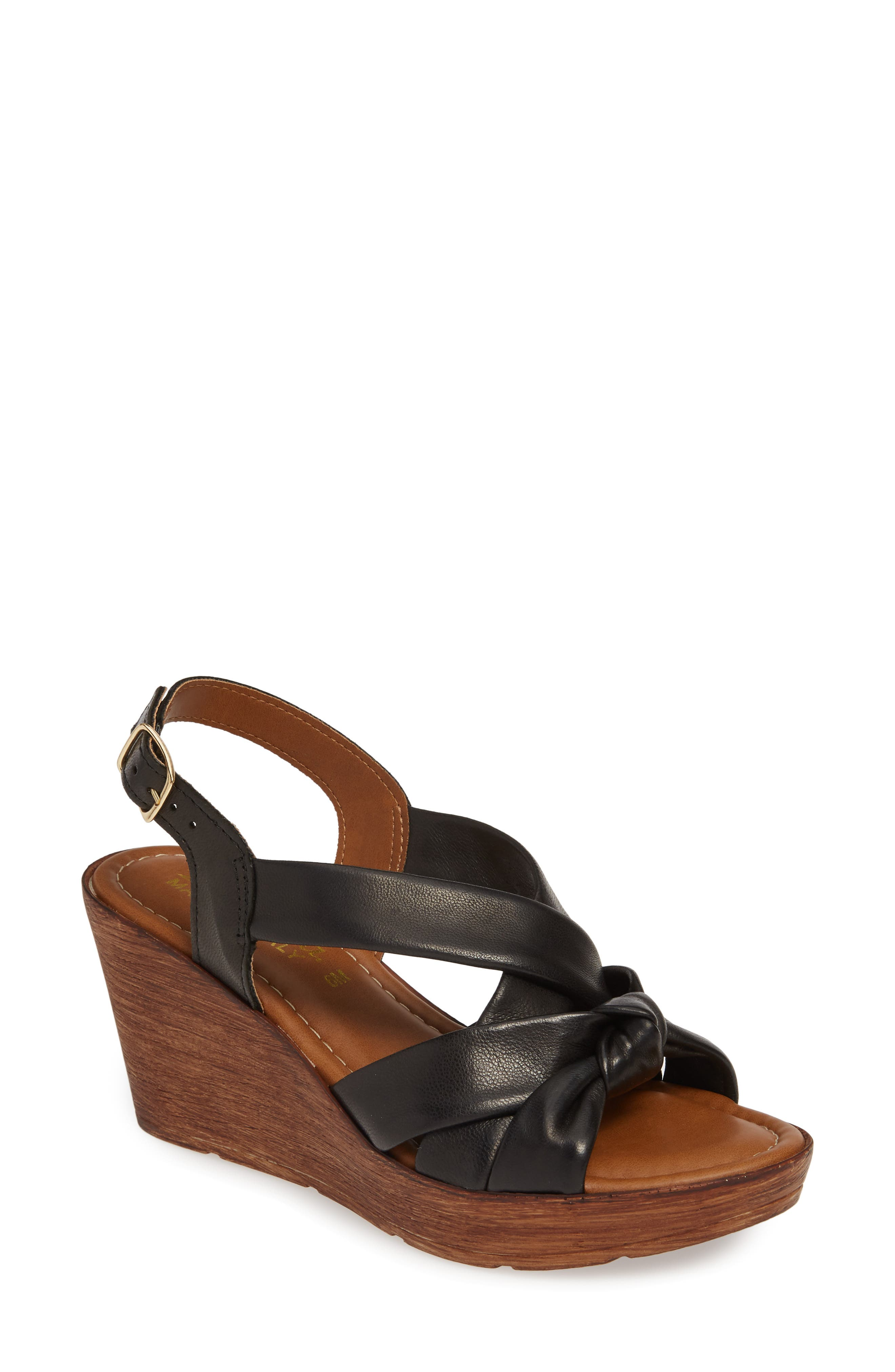 BELLA VITA, Italy Wedge Sandal, Main thumbnail 1, color, BLACK ITALIAN LEATHER