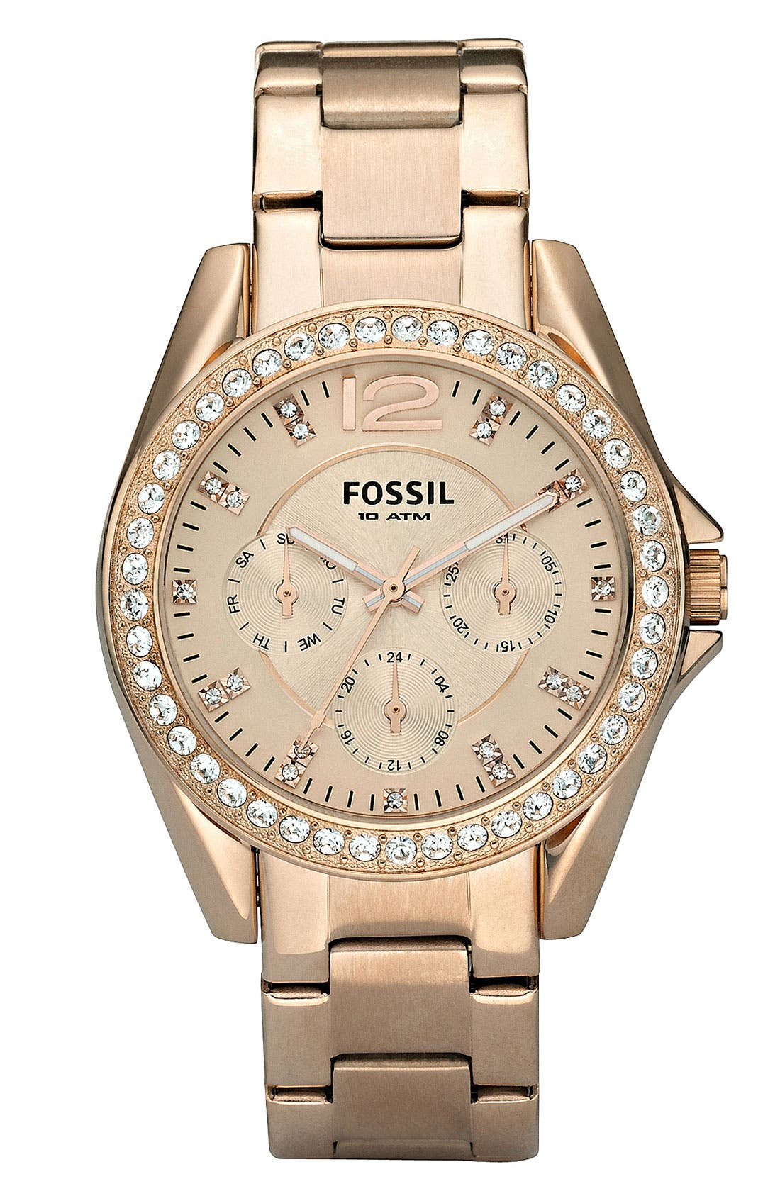 FOSSIL, 'Riley' Round Crystal Bezel Bracelet Watch, 38mm, Main thumbnail 1, color, ROSE GOLD