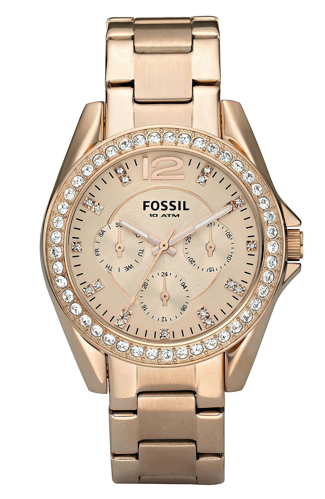 FOSSIL 'Riley' Round Crystal Bezel Bracelet Watch, 38mm, Main, color, ROSE GOLD