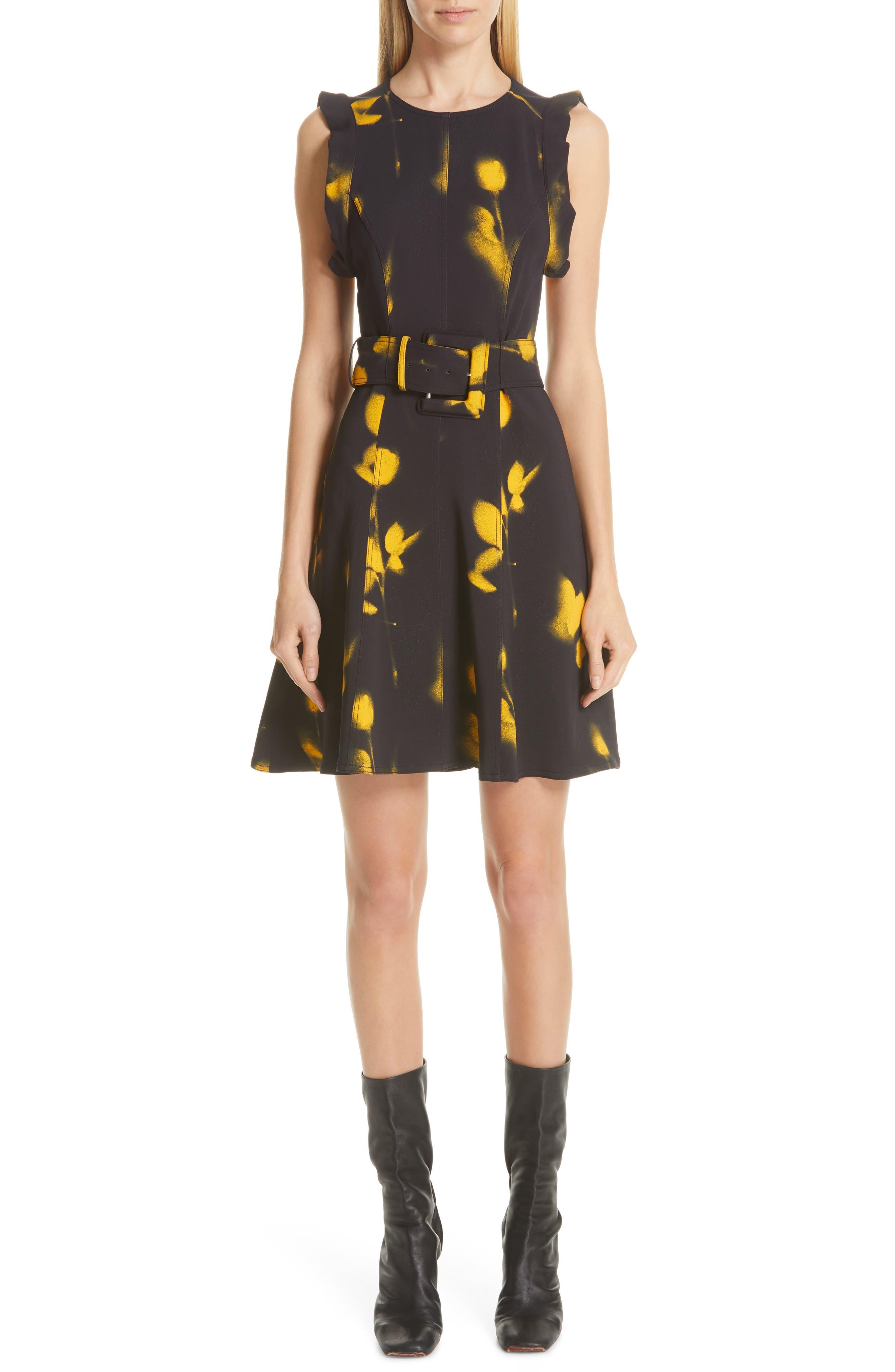 Proenza Schouler Print Belted Cady Dress, Black