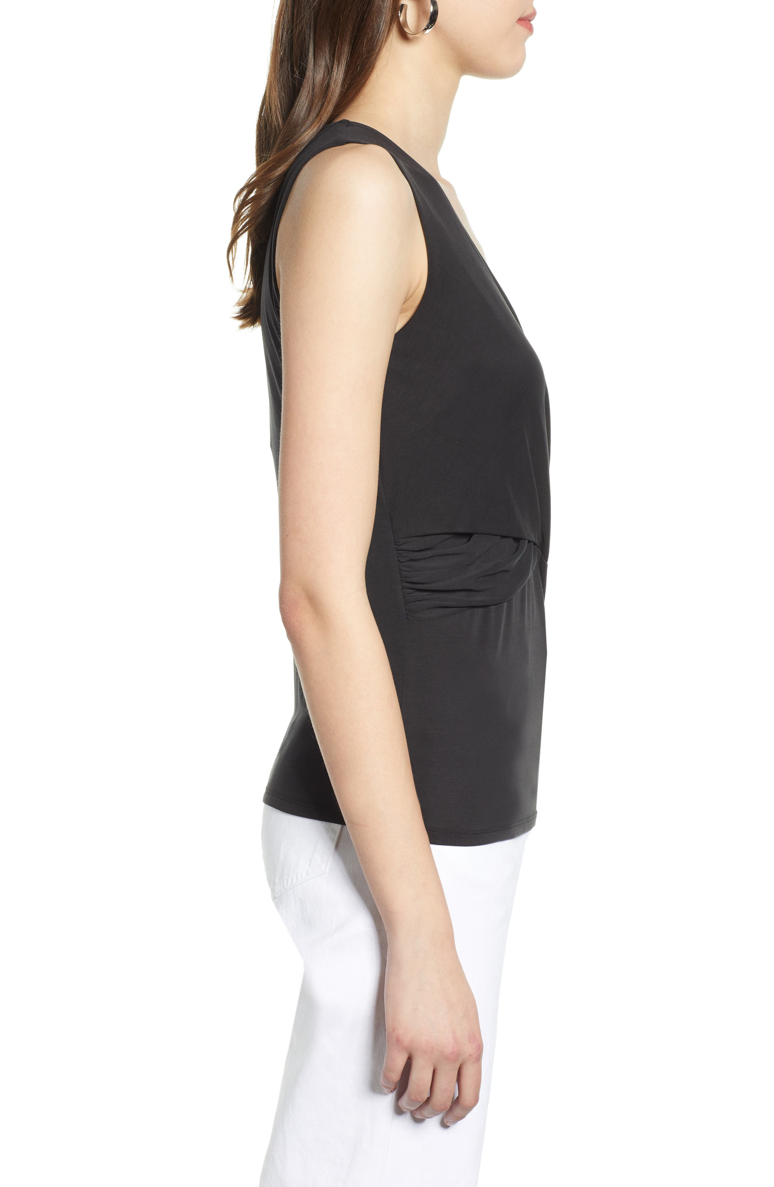 HALOGEN<SUP>®</SUP>, Cross Front Knit Tank, Alternate thumbnail 3, color, BLACK