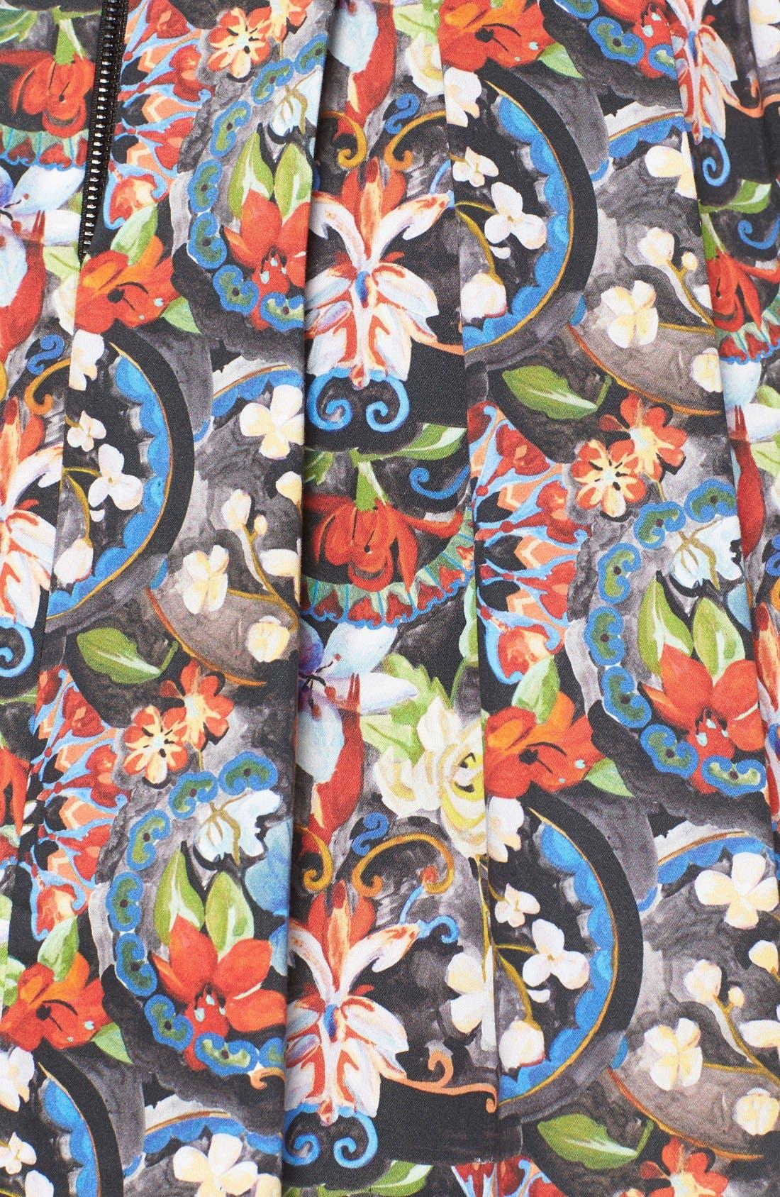 ALICE + OLIVIA, 'Parson' Floral Print Pleated Miniskirt, Alternate thumbnail 4, color, 605