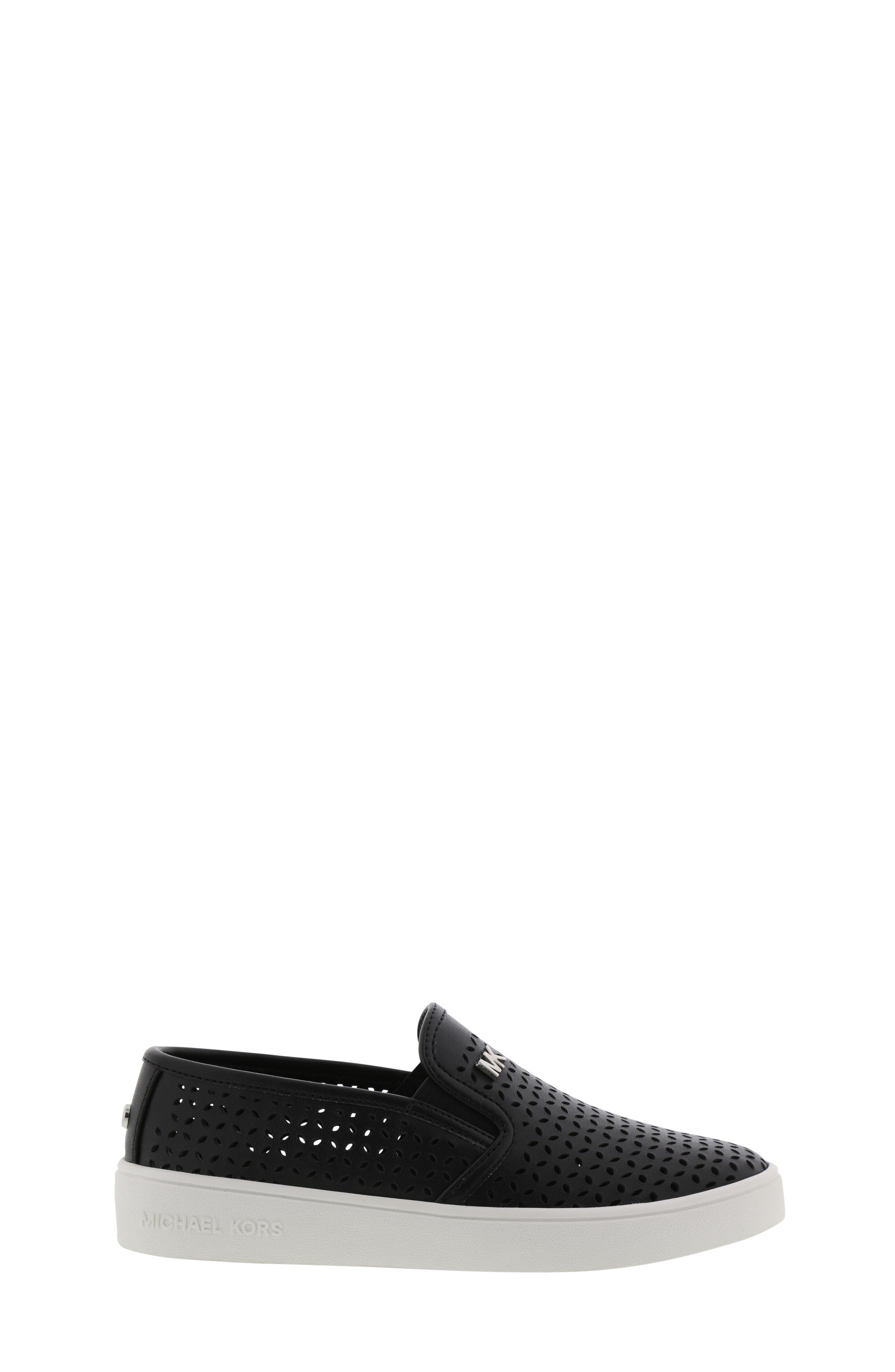 MICHAEL MICHAEL KORS, Jem Olivia Perforated Slip-On Sneaker, Alternate thumbnail 8, color, BLACK