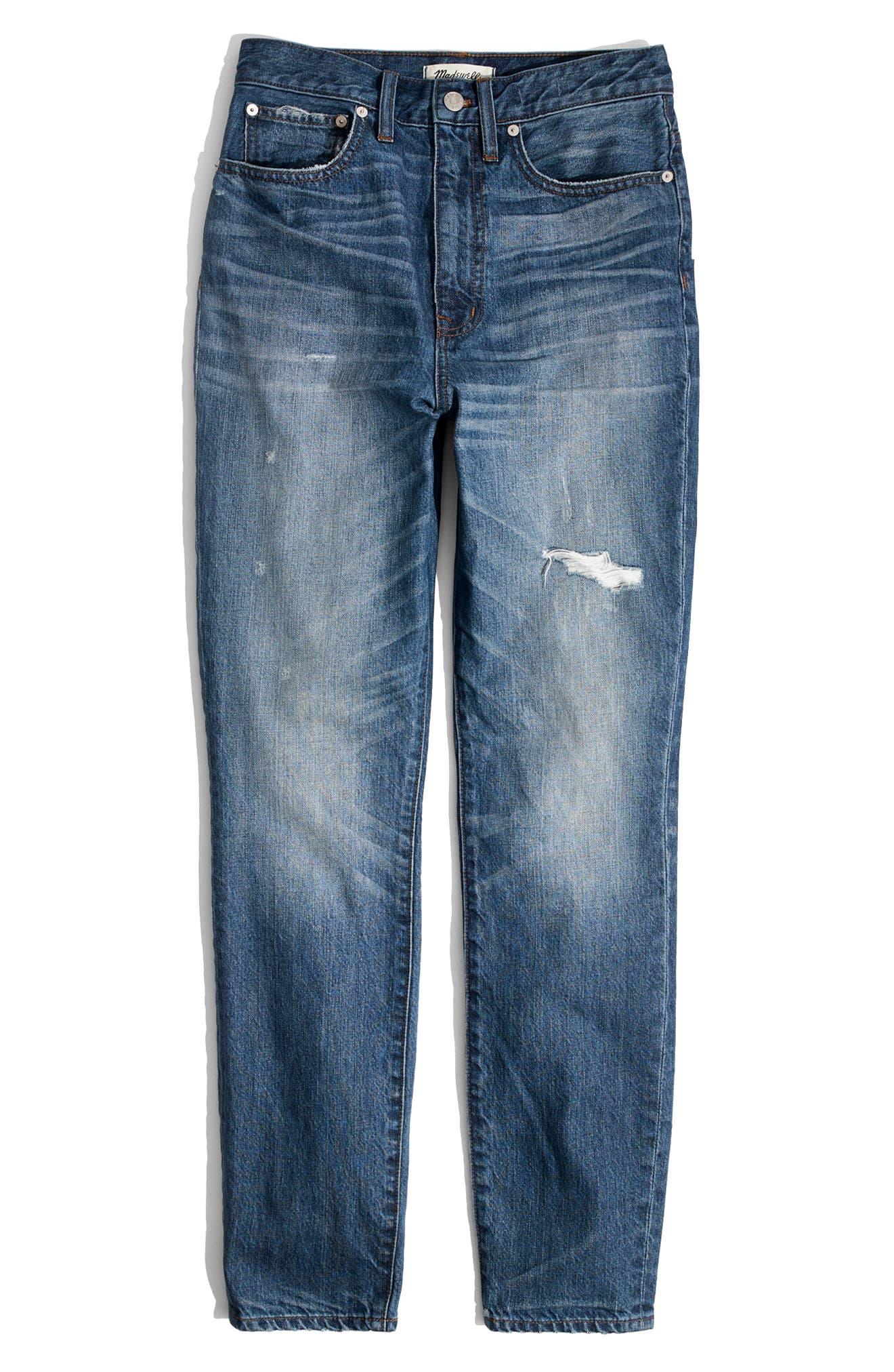 MADEWELL, Rigid High Waist Skinny Jeans, Alternate thumbnail 5, color, NAPA
