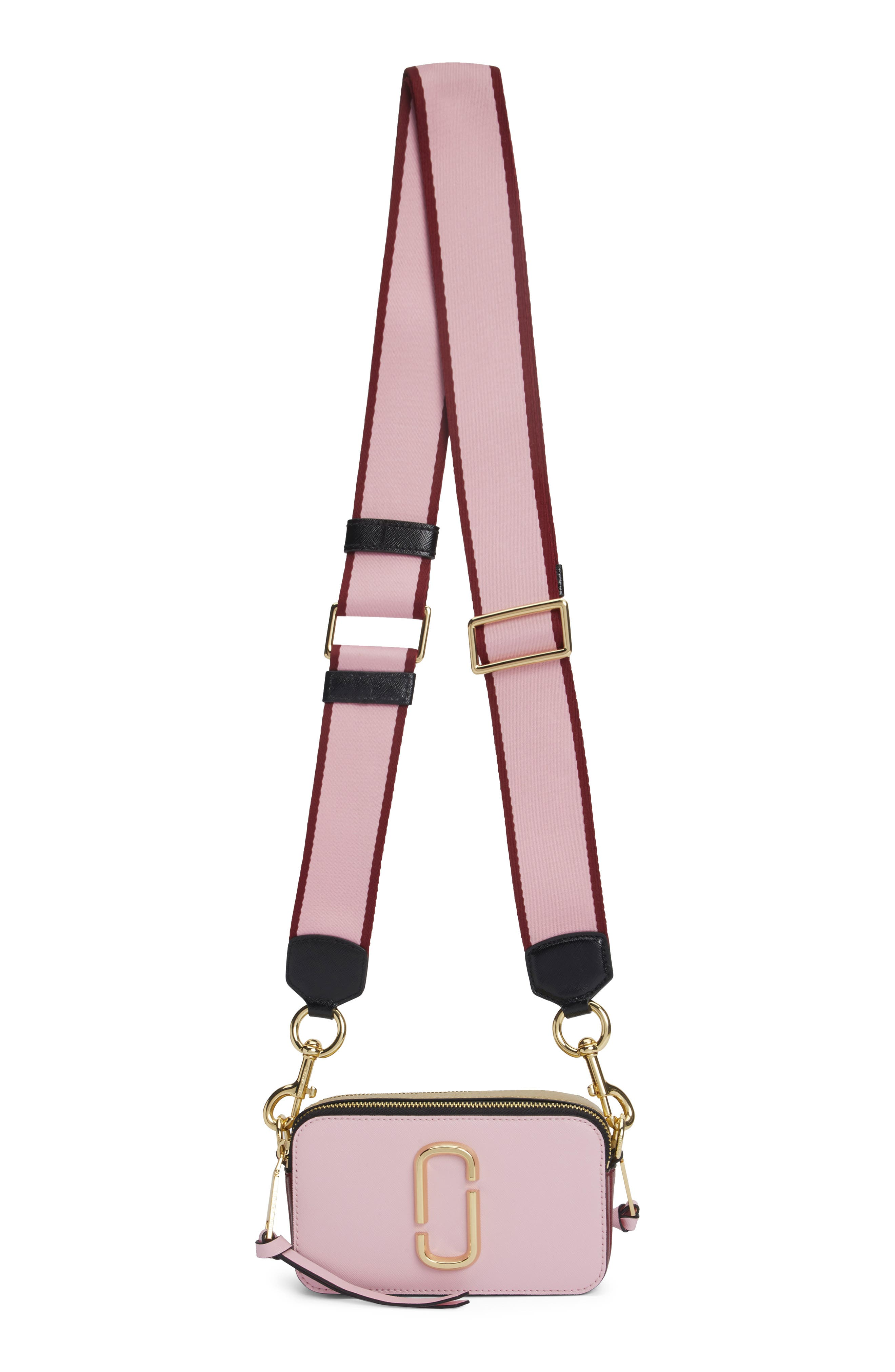 MARC JACOBS, Snapshot Crossbody Bag, Alternate thumbnail 6, color, BABY PINK/ RED