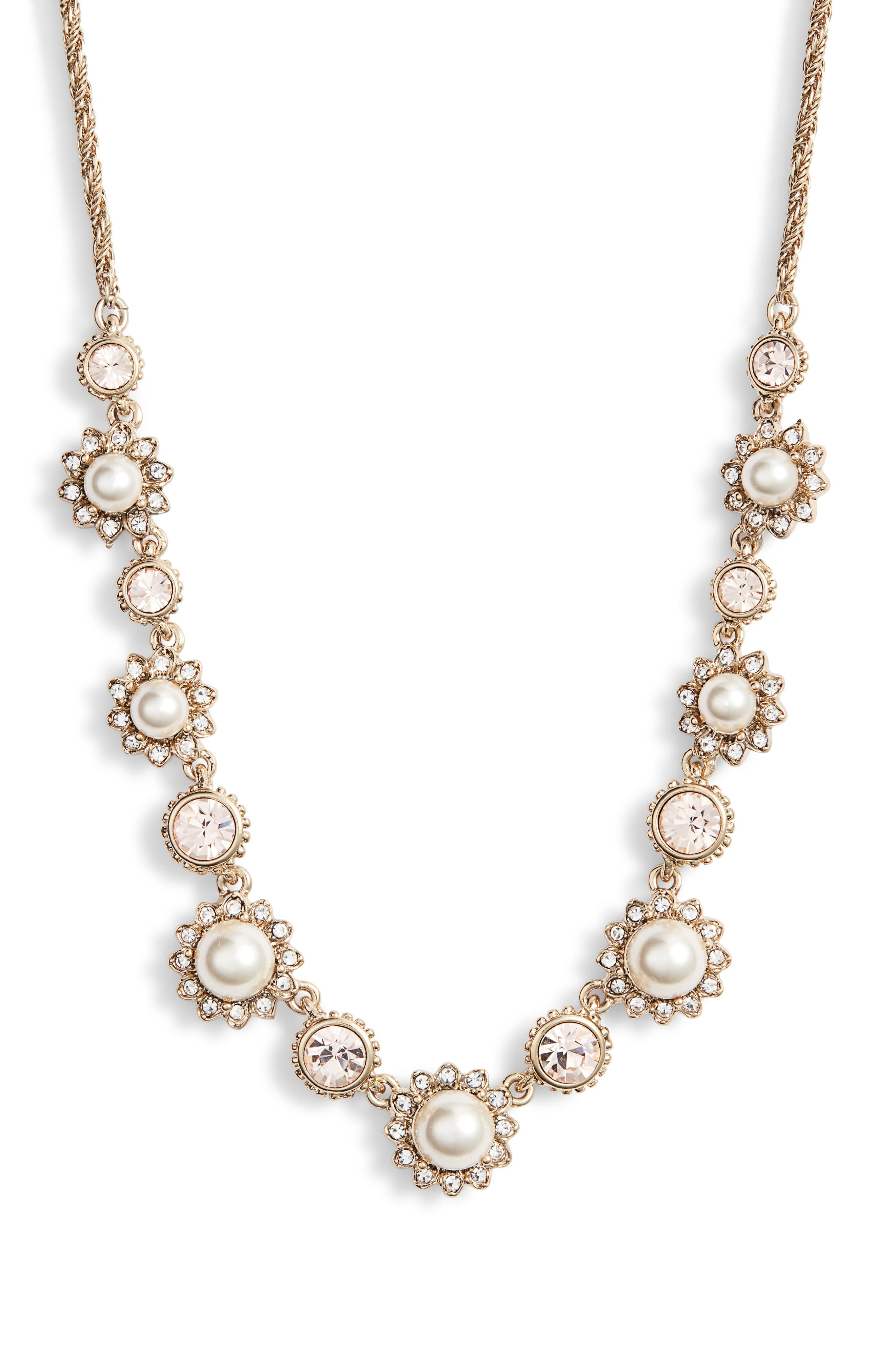 MARCHESA, Frontal Necklace, Main thumbnail 1, color, CREAM/ SILK/ GOLD