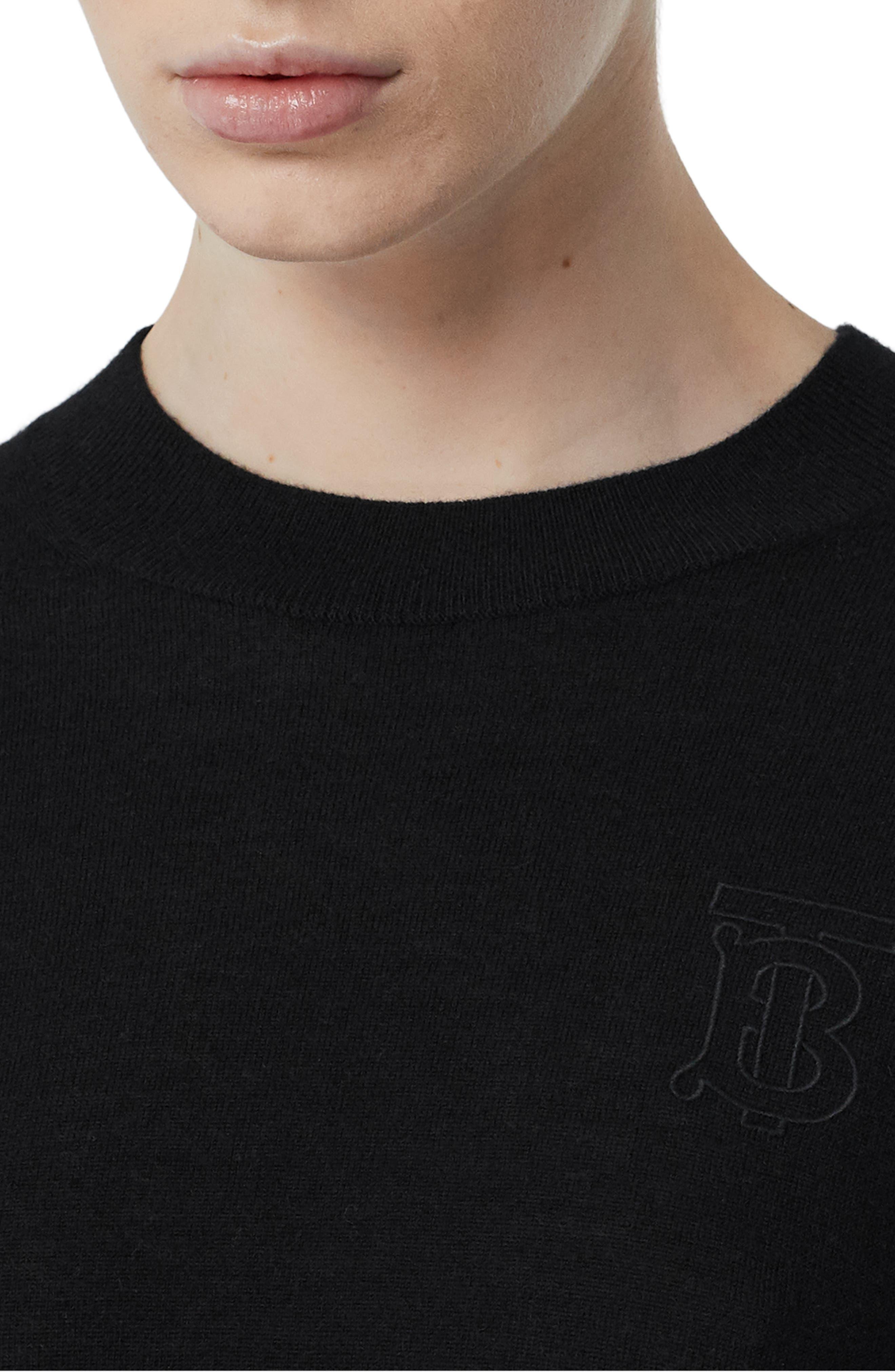 BURBERRY, Callery Monogram Logo Cashmere Sweater, Alternate thumbnail 4, color, BLACK