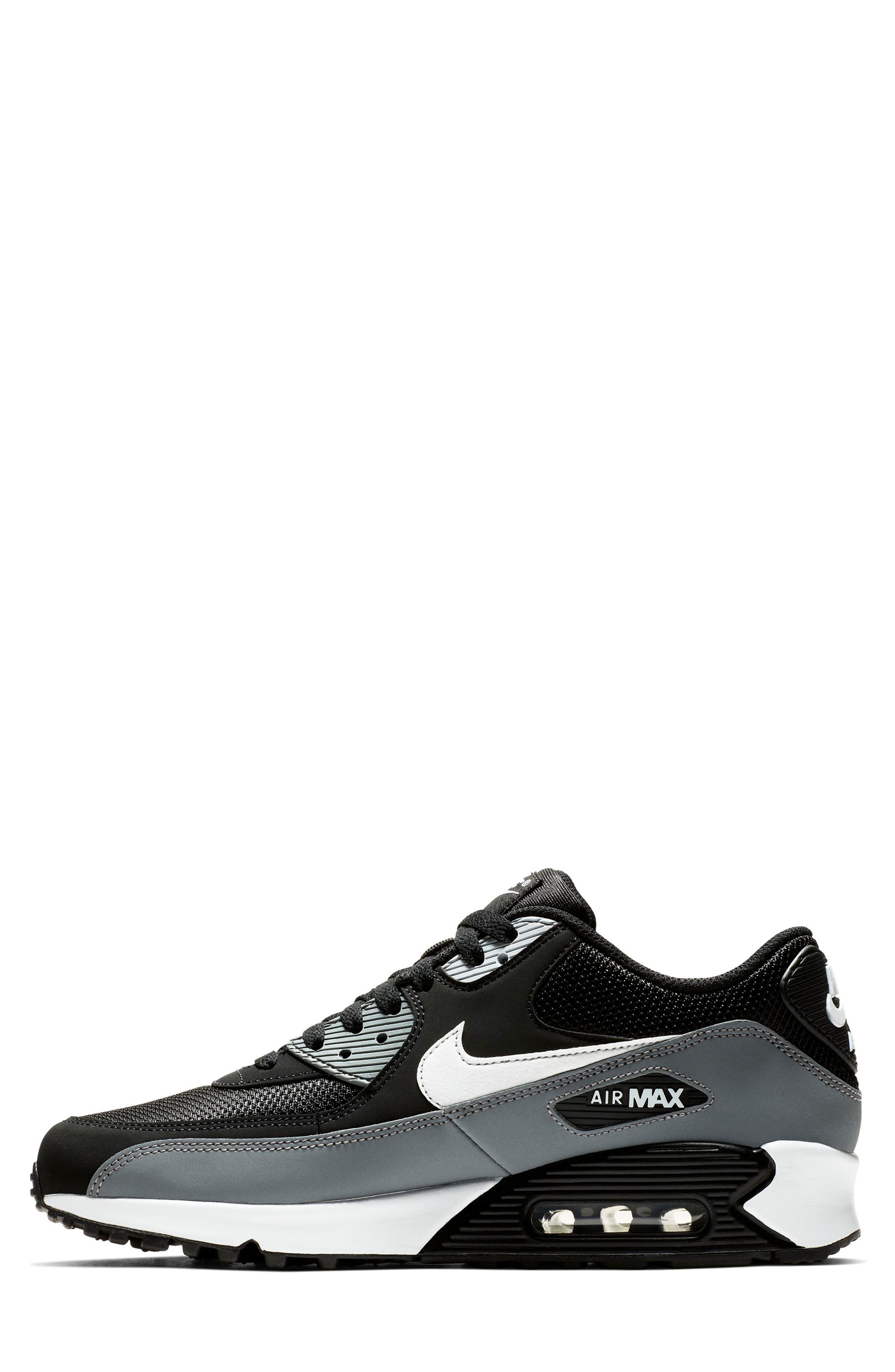 NIKE, Air Max 90 Essential Sneaker, Alternate thumbnail 6, color, BLACK/ WHITE/ COOL GREY
