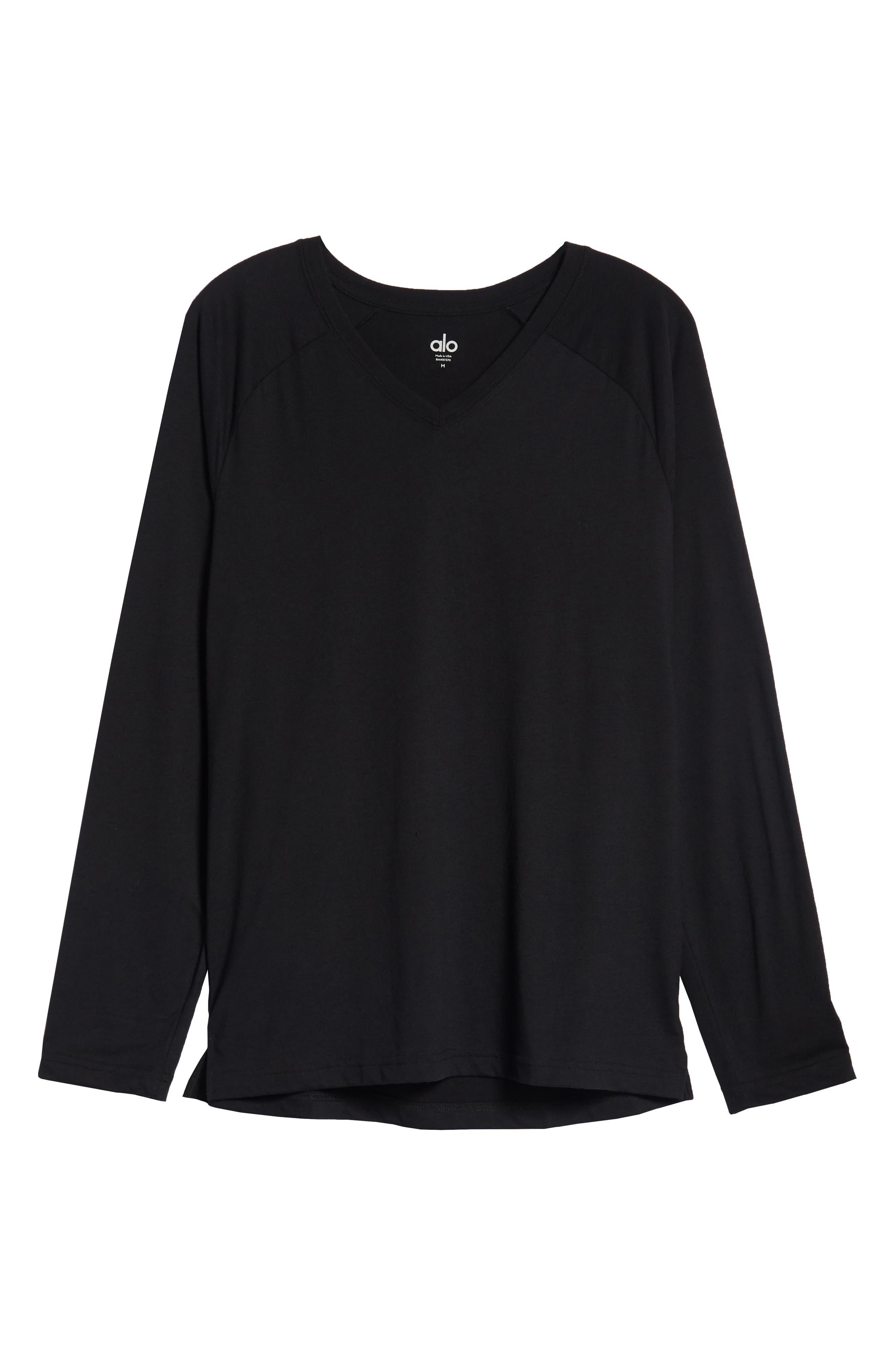 ALO, Triumph Long Raglan Sleeve V-Neck T-Shirt, Alternate thumbnail 6, color, SOLID BLACK TRIBLEND