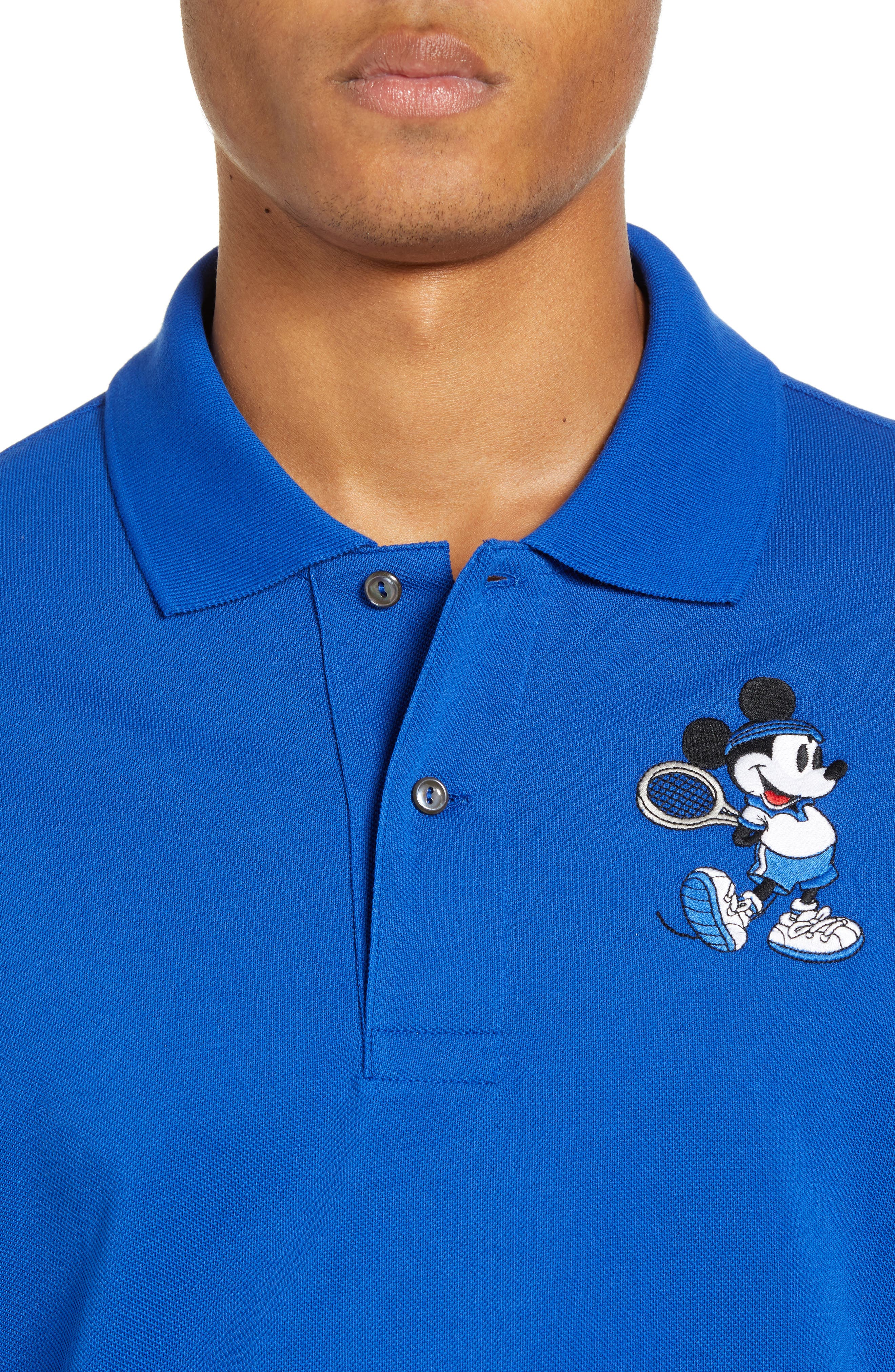 LACOSTE, Disney Mickey Mouse Regular Fit Polo, Alternate thumbnail 4, color, TMC STEAMER/ STEAMER