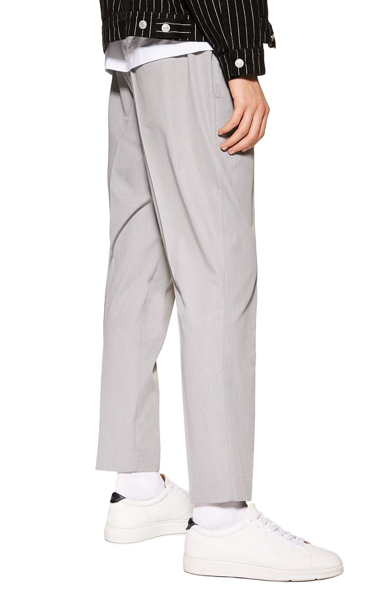 TOPMAN, Slim Fit Cropped Jogger Pants, Alternate thumbnail 2, color, GREY
