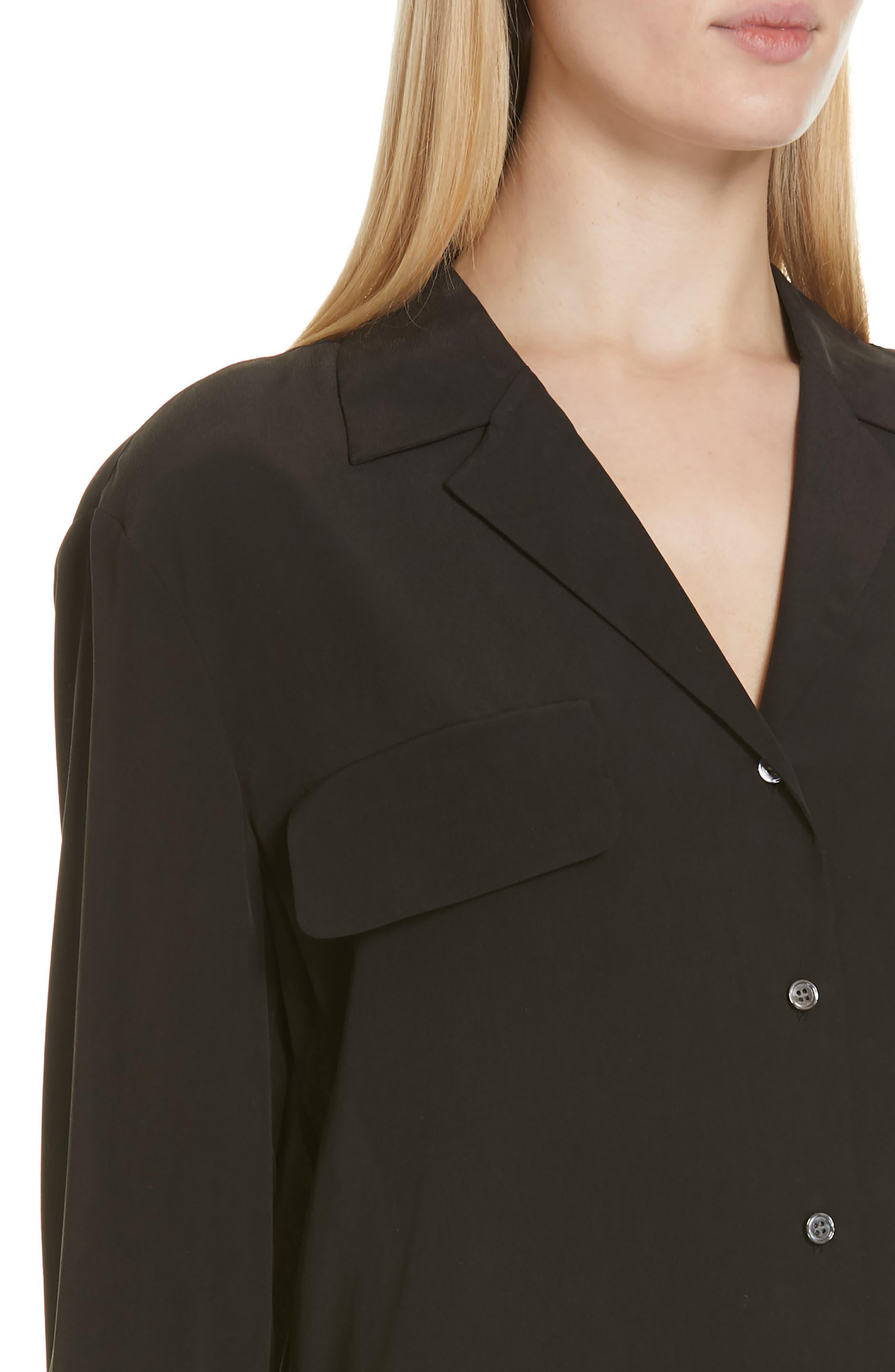 FRAME, Pocket Silk Blouse, Alternate thumbnail 4, color, BLACK