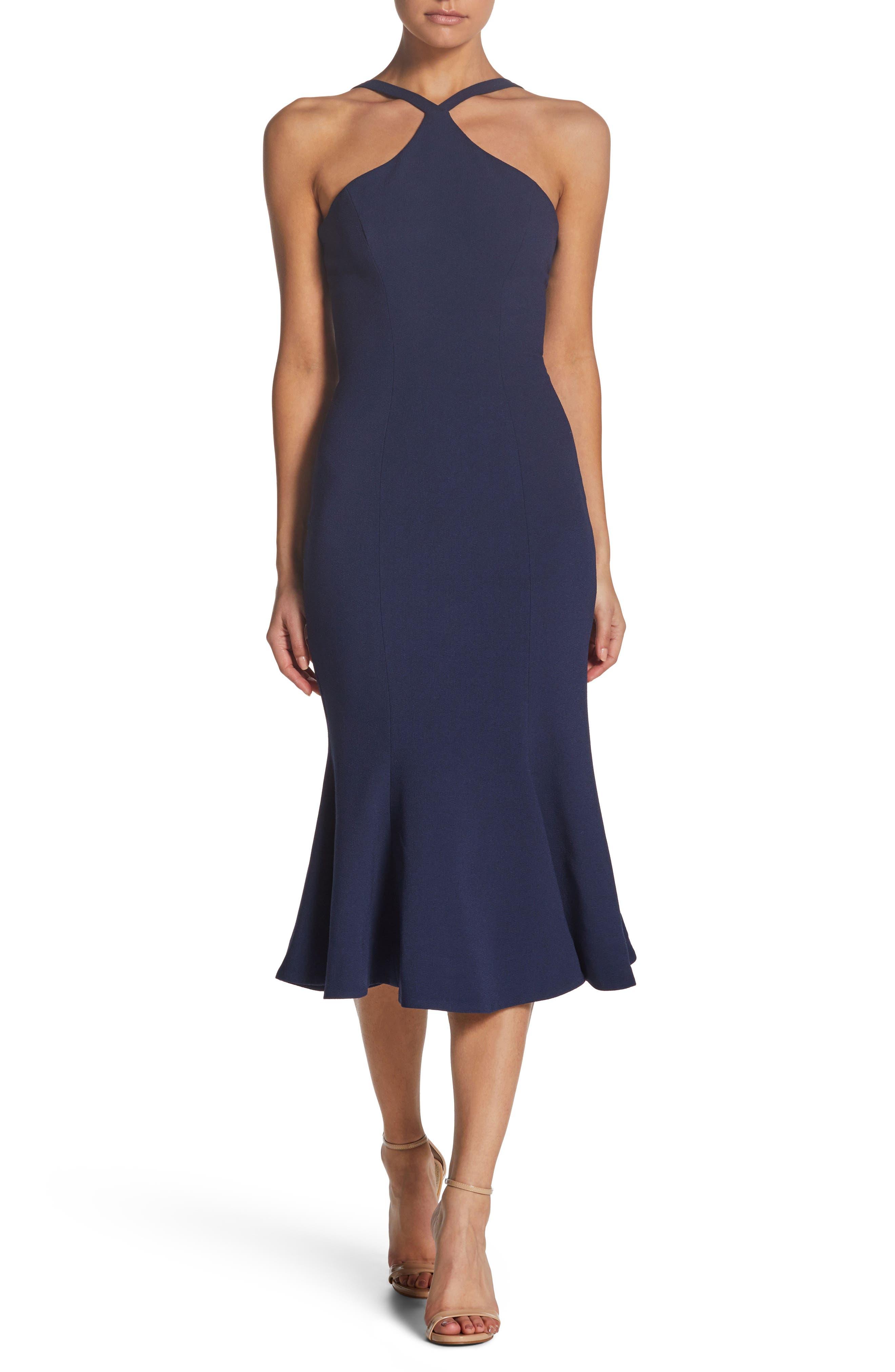 Dress The Population Tessa Crepe Mermaid Dress, Blue