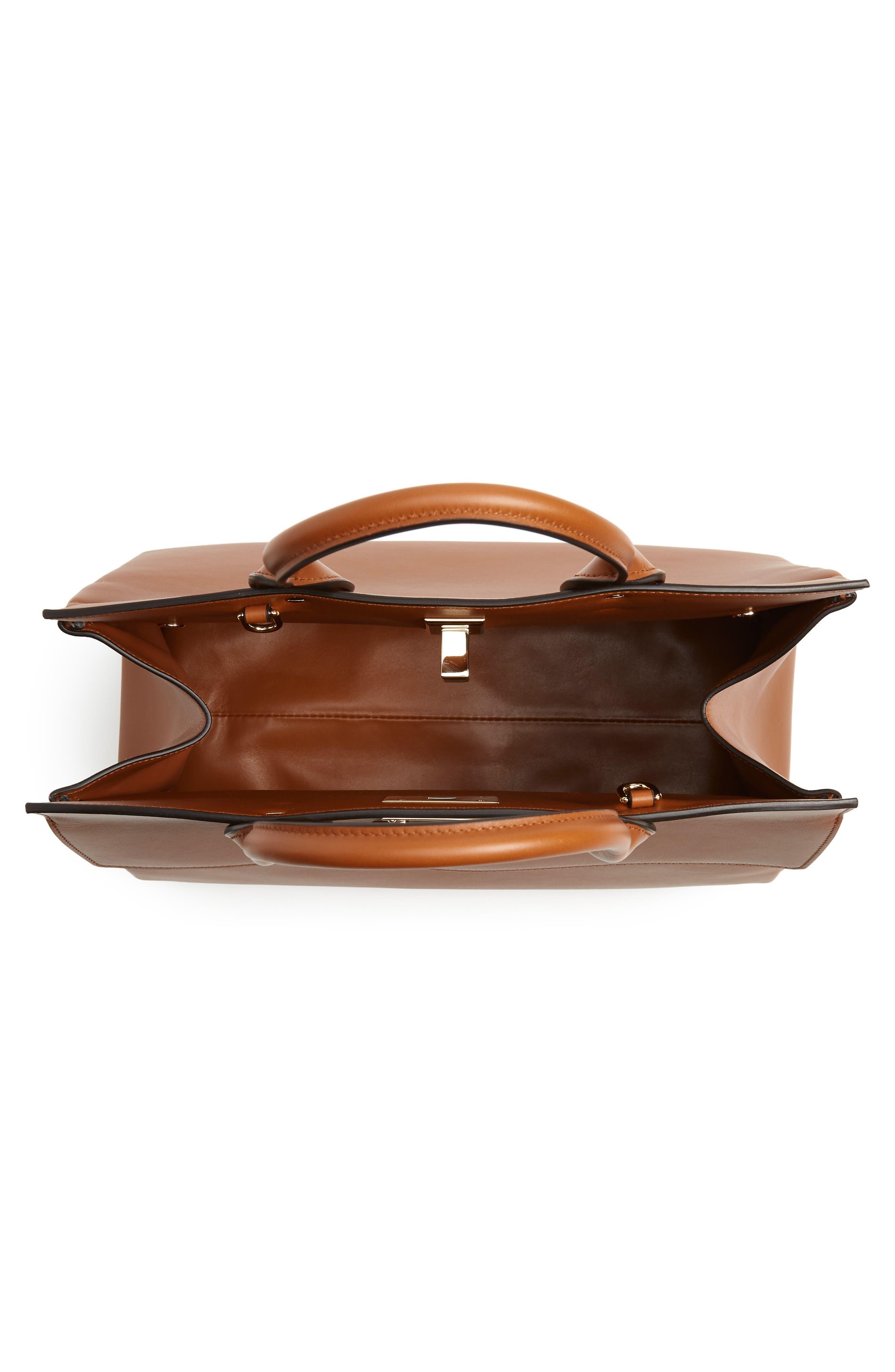 SALVATORE FERRAGAMO, Medium The Studio Calfskin Leather Top Handle Bag, Alternate thumbnail 4, color, SELLA