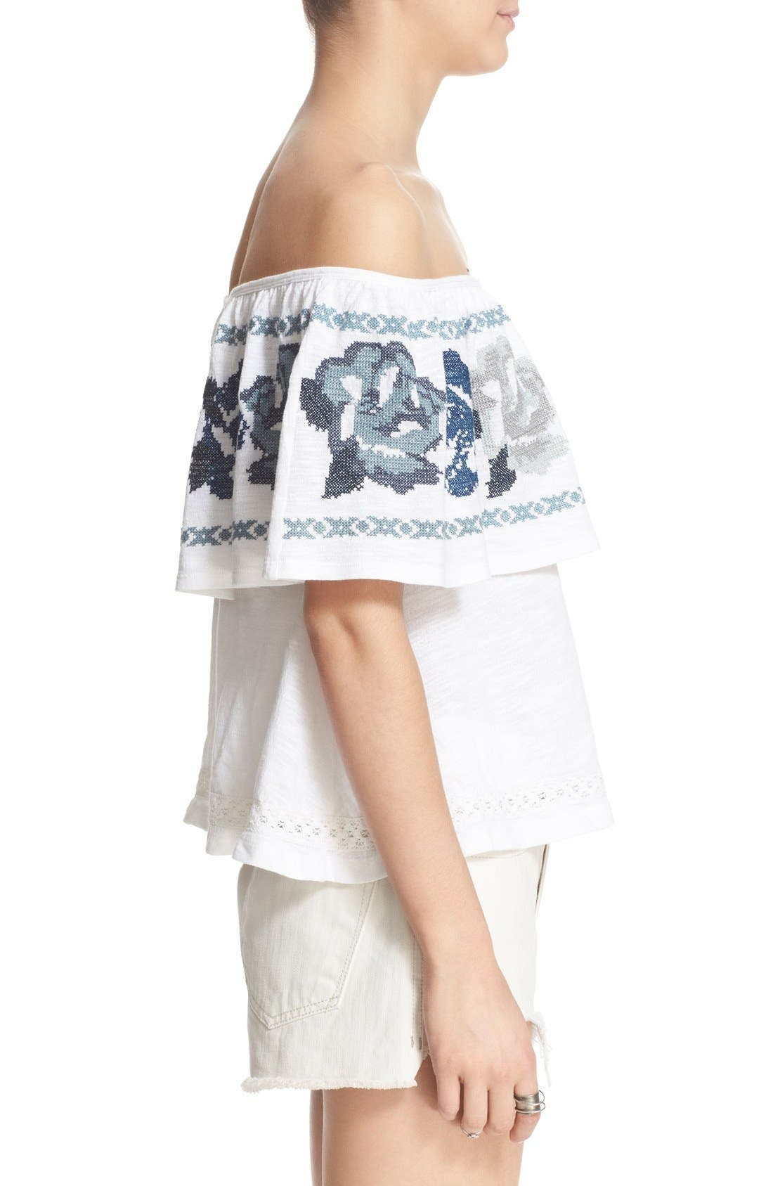 FREE PEOPLE, 'To the Left' Embroidered Off the Shoulder Top, Alternate thumbnail 6, color, 103