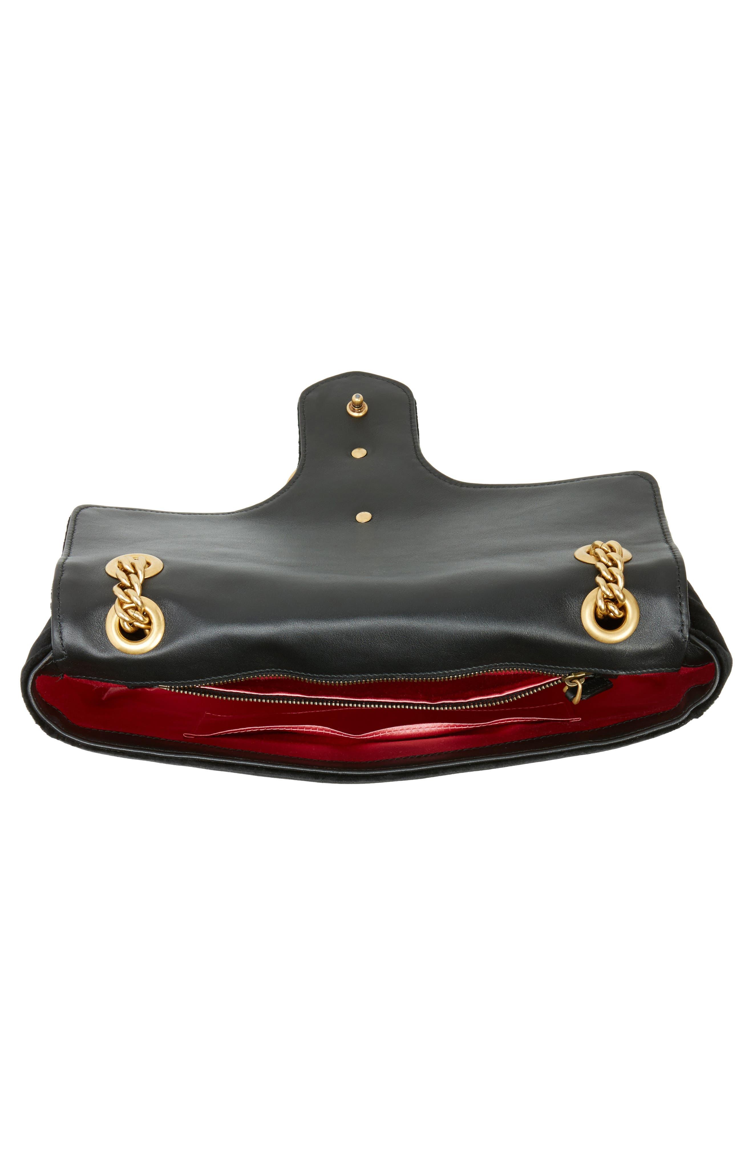 GUCCI, Medium GG Marmont 2.0 Matelassé Velvet Shoulder Bag, Alternate thumbnail 4, color, NERO