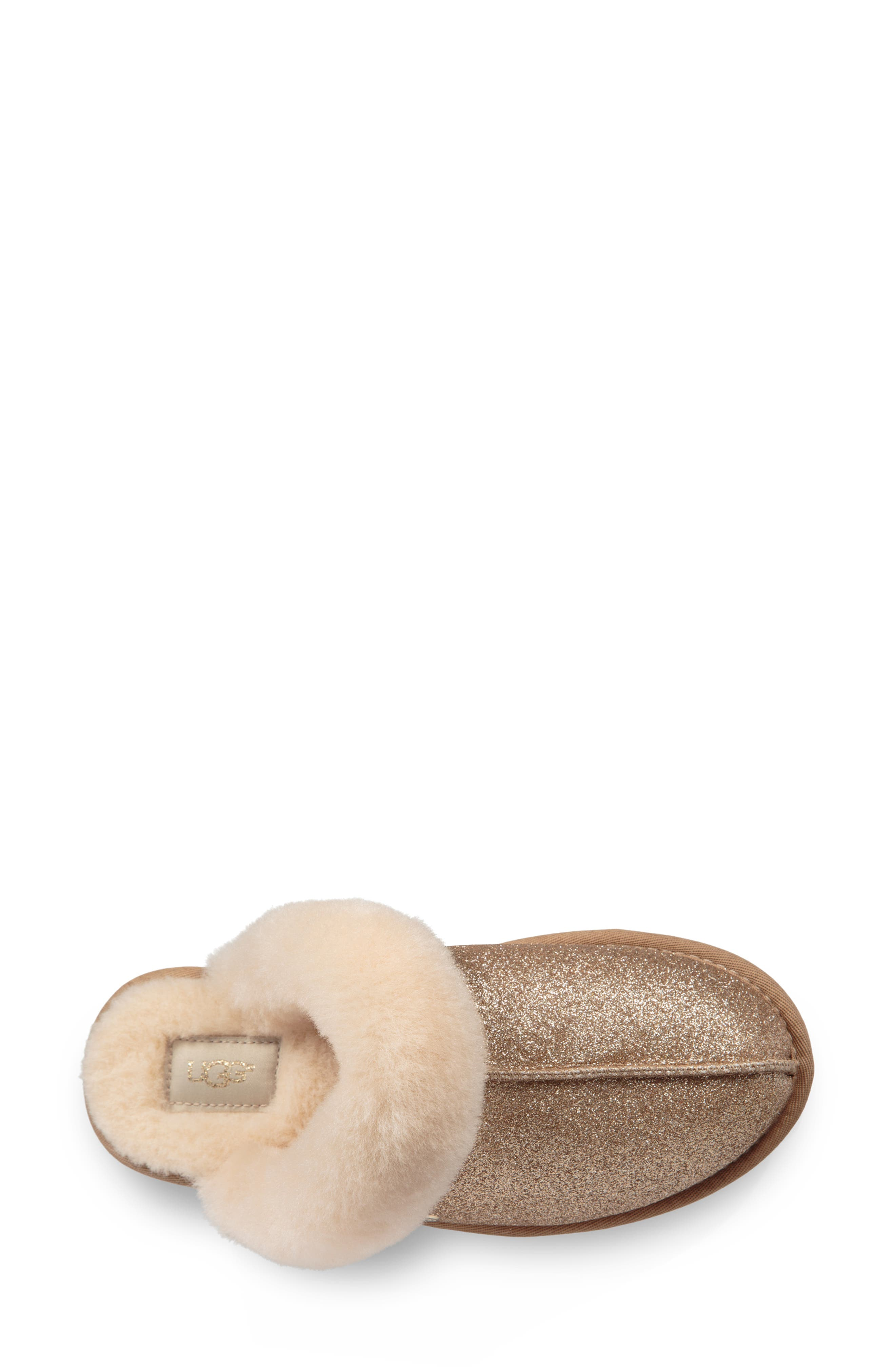 UGG<SUP>®</SUP>, Scuffette II Sparkle Genuine Shearling Slipper, Alternate thumbnail 4, color, GOLD