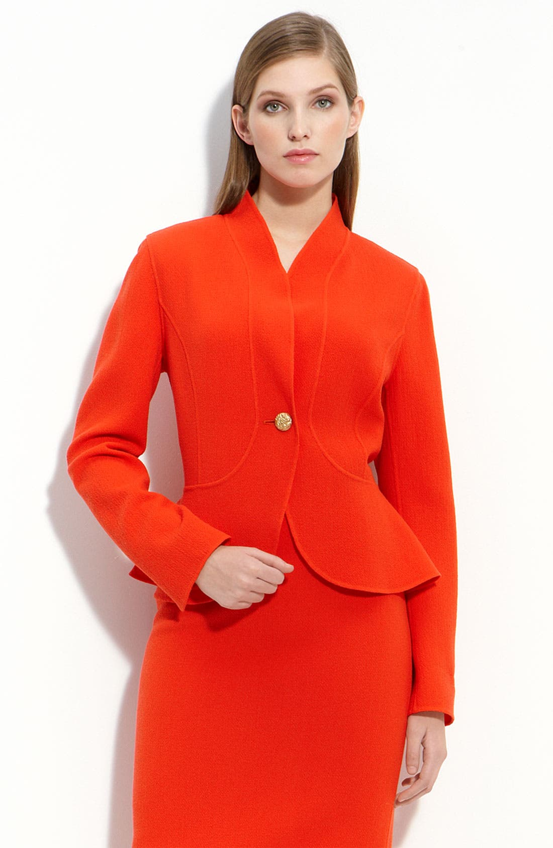 ST. JOHN COLLECTION, Double Face Crepe Jacket, Main thumbnail 1, color, 800