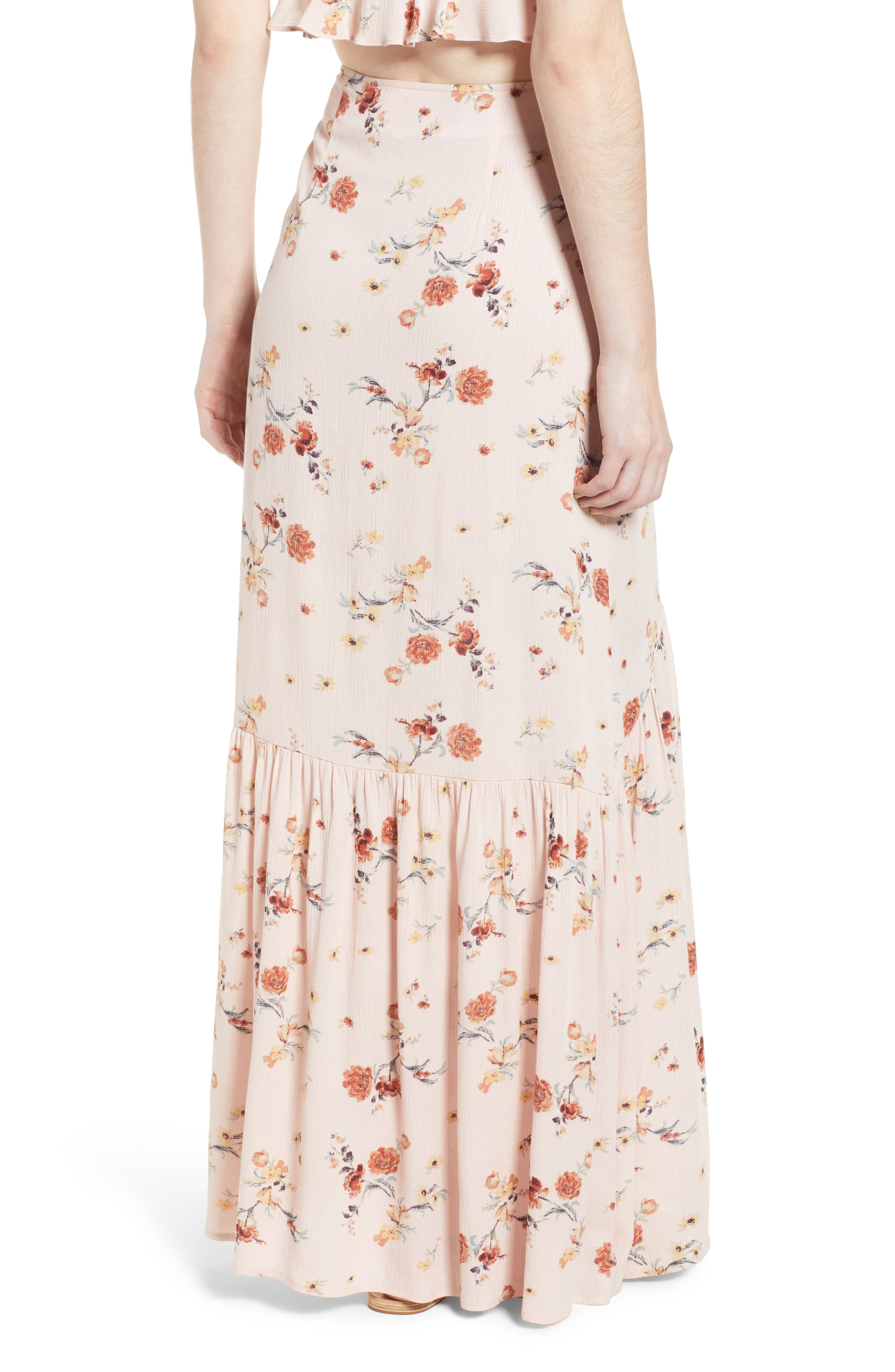 LOST + WANDER, Rosa Floral Maxi Skirt, Alternate thumbnail 2, color, 650