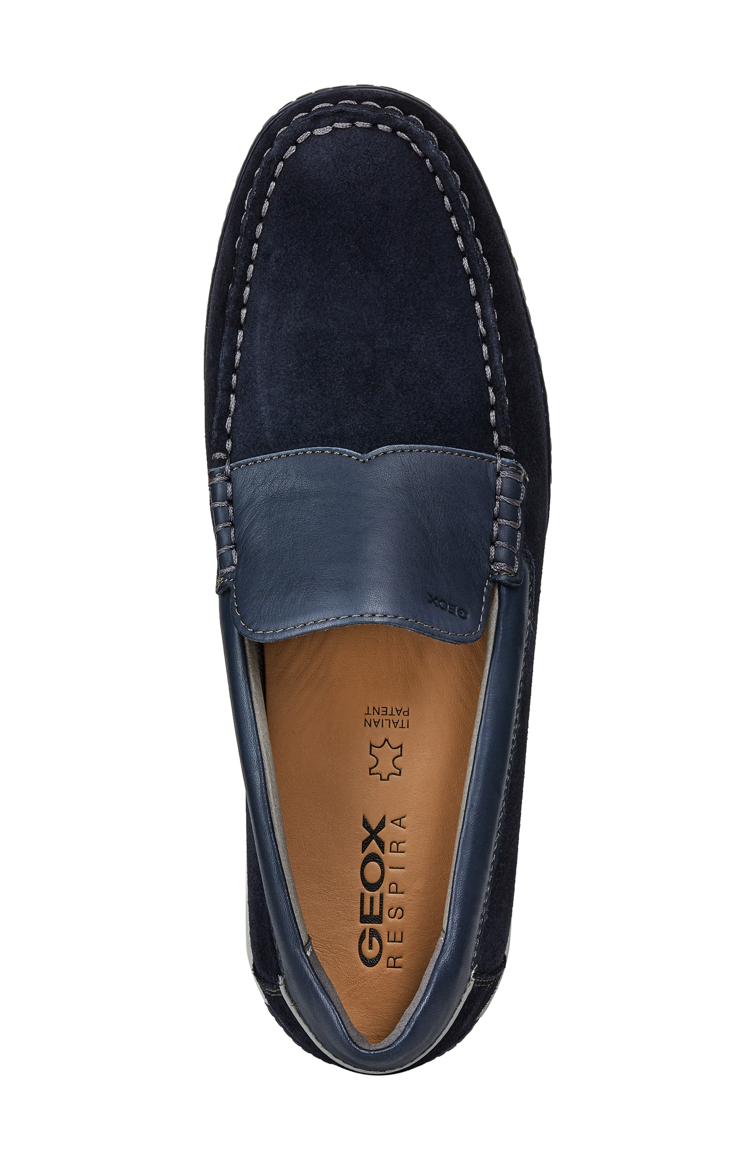 GEOX, Delrick 2 Slip-On, Alternate thumbnail 4, color, NAVY SUEDE/ LEATHER