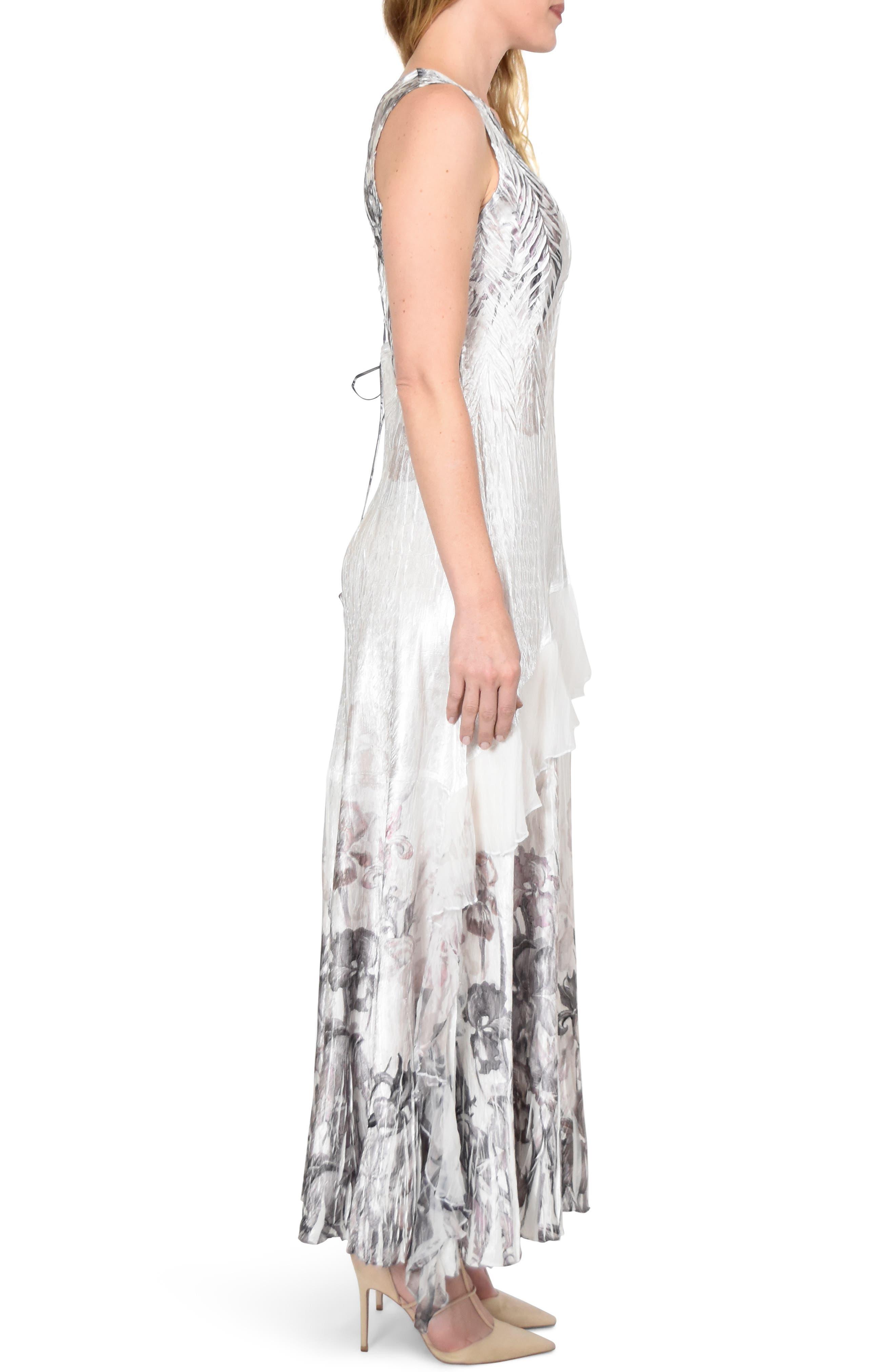 KOMAROV, Charmeuse Dress with Wrap, Alternate thumbnail 3, color, IRIS GARDEN