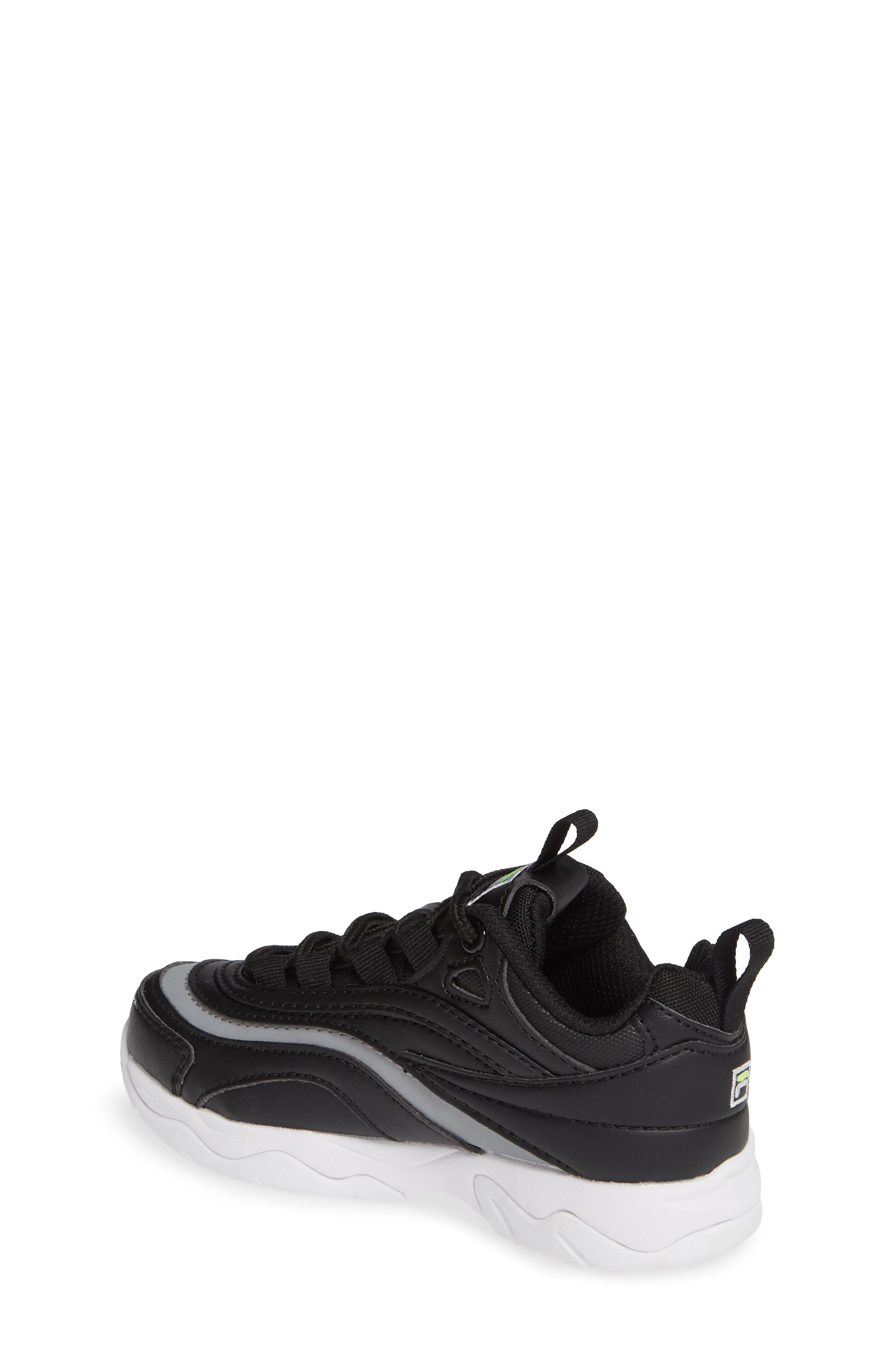 FILA, Ray Sneaker, Alternate thumbnail 2, color, BLACK/ SAFETY YELLOW/ SILVER