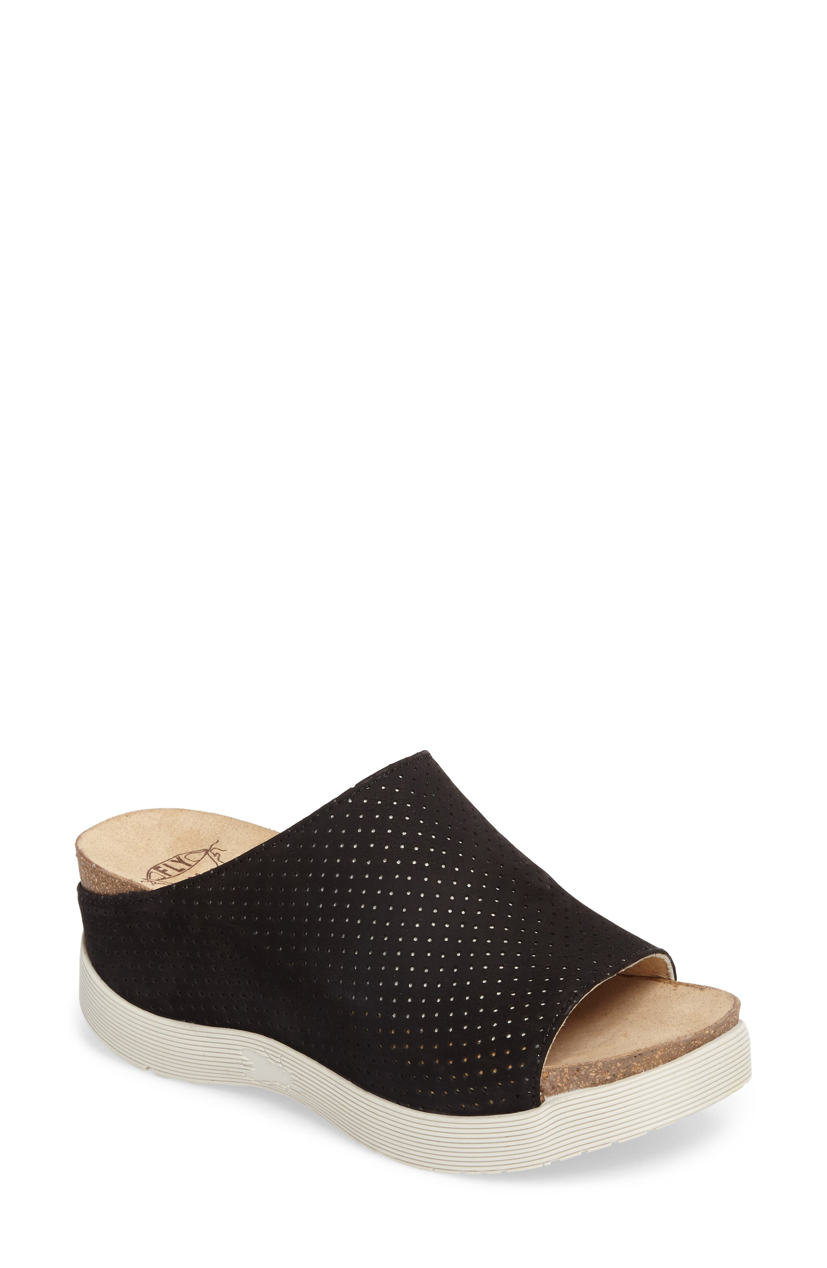 FLY LONDON, Whin Platform Sandal, Main thumbnail 1, color, BLACK CUPIDO LEATHER