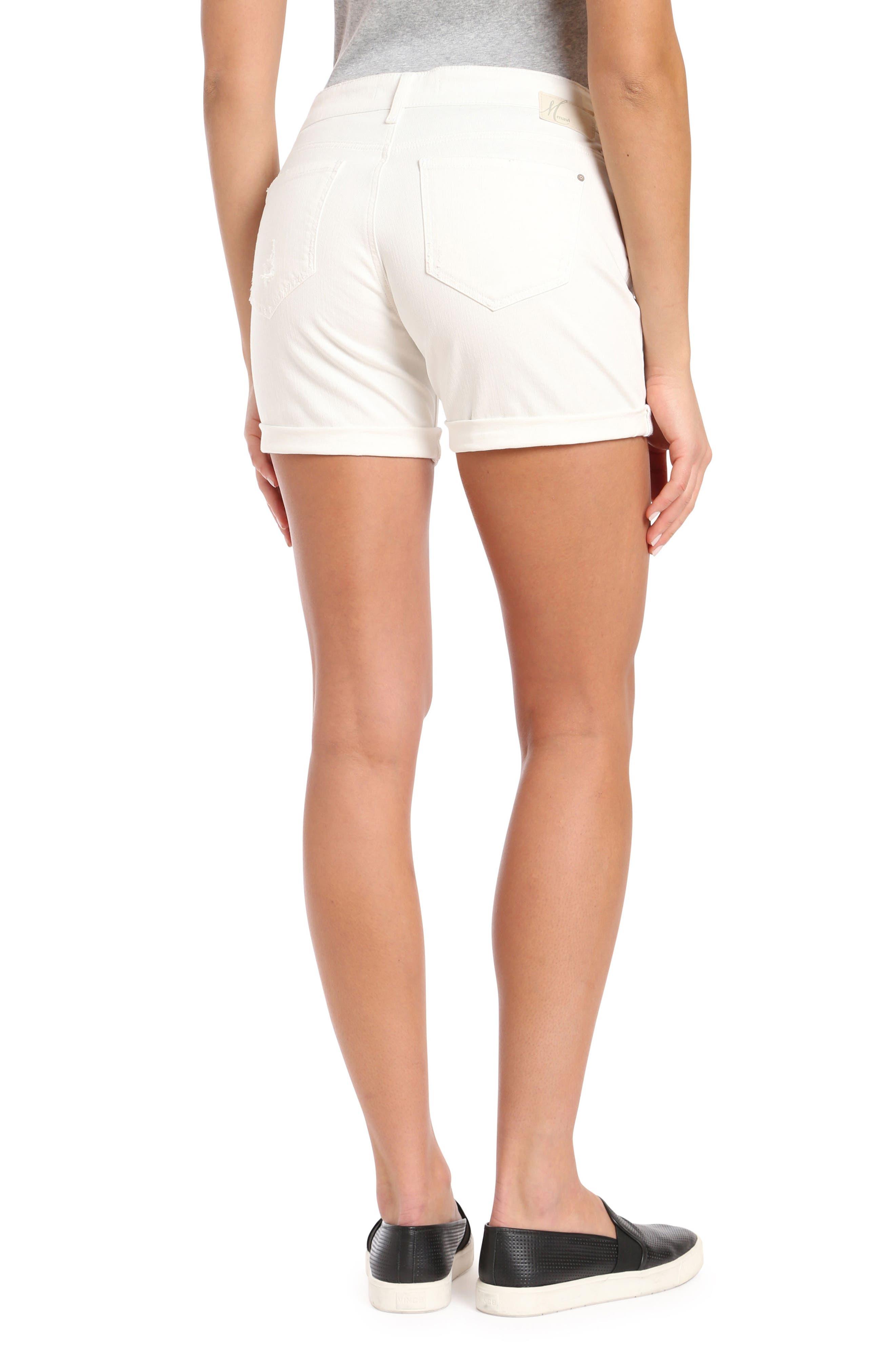 MAVI JEANS, Pixie Ripped Denim Shorts, Alternate thumbnail 2, color, WHITE RIPPED NOLITA