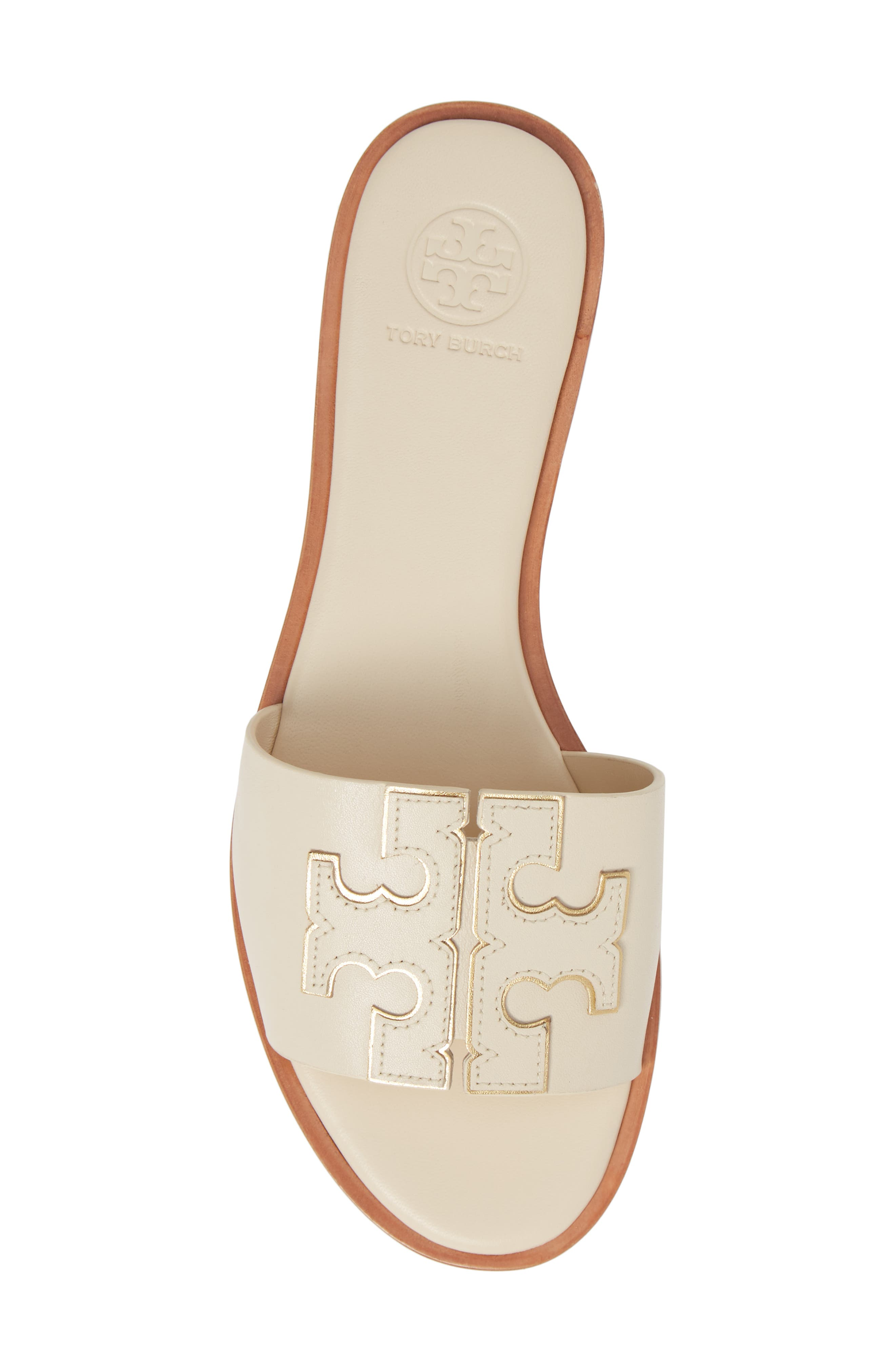 TORY BURCH, Ines Slide Sandal, Alternate thumbnail 5, color, NEW CREAM/ GOLD