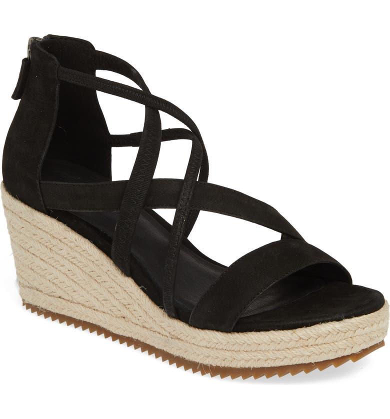 d8ad6ea9084 Eileen Fisher Wanda Cross Strap Wedge Sandal In Black Tumbled Nubuck Leather