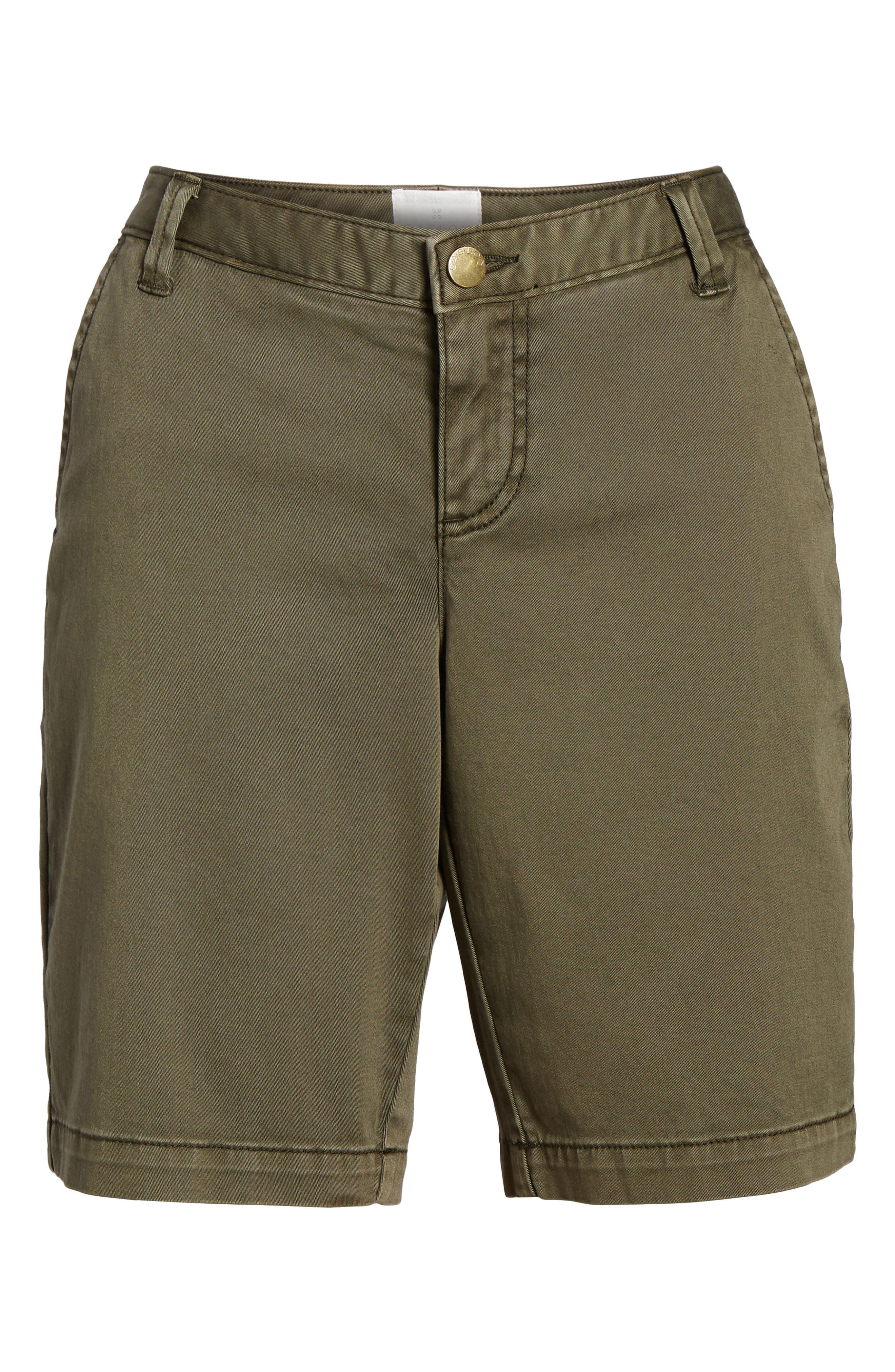 CASLON<SUP>®</SUP>, Twill Shorts, Alternate thumbnail 7, color, OLIVE SARMA