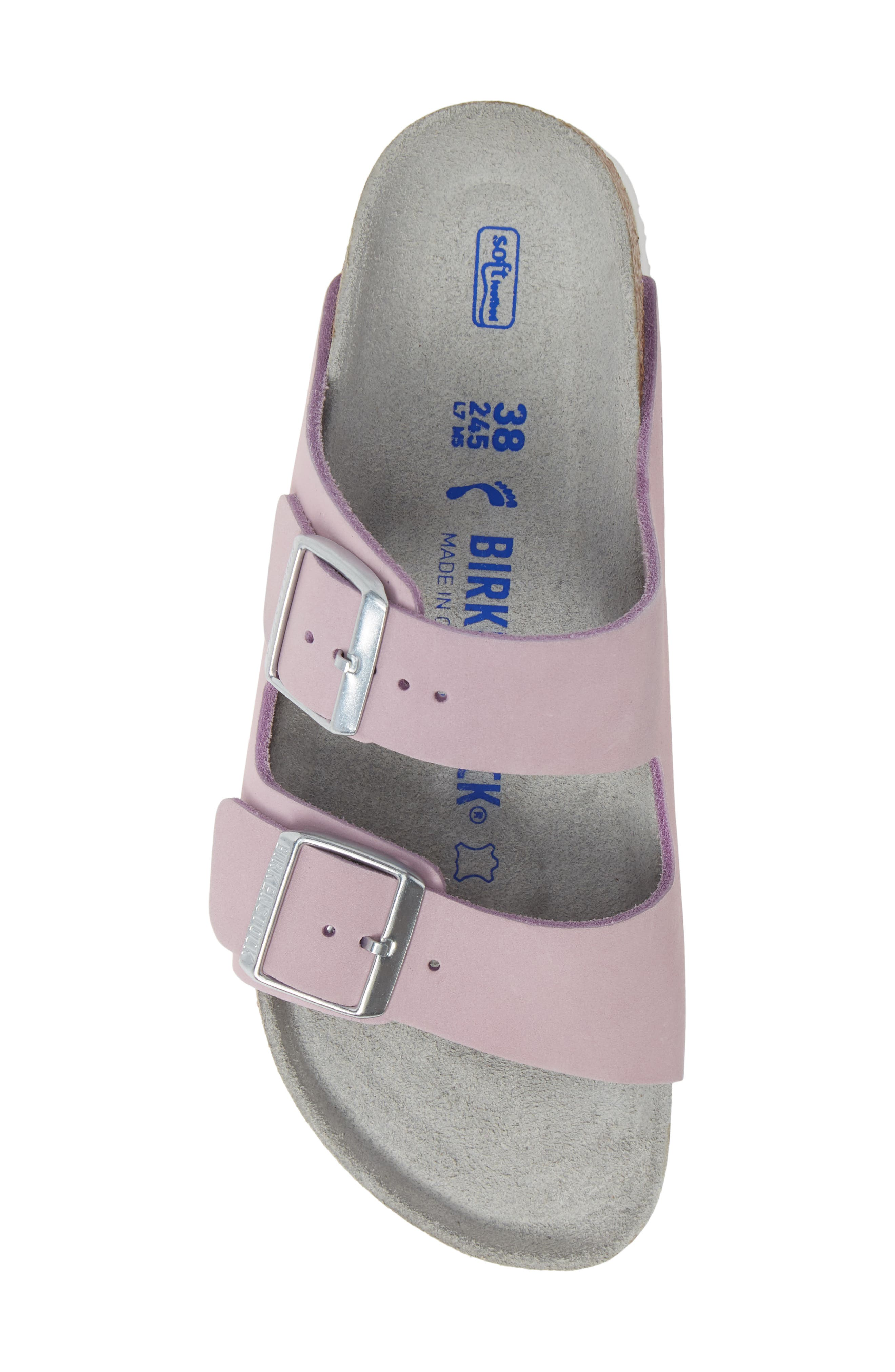 BIRKENSTOCK, Arizona Soft Footbed Sandal, Alternate thumbnail 5, color, LILAC NUBUCK