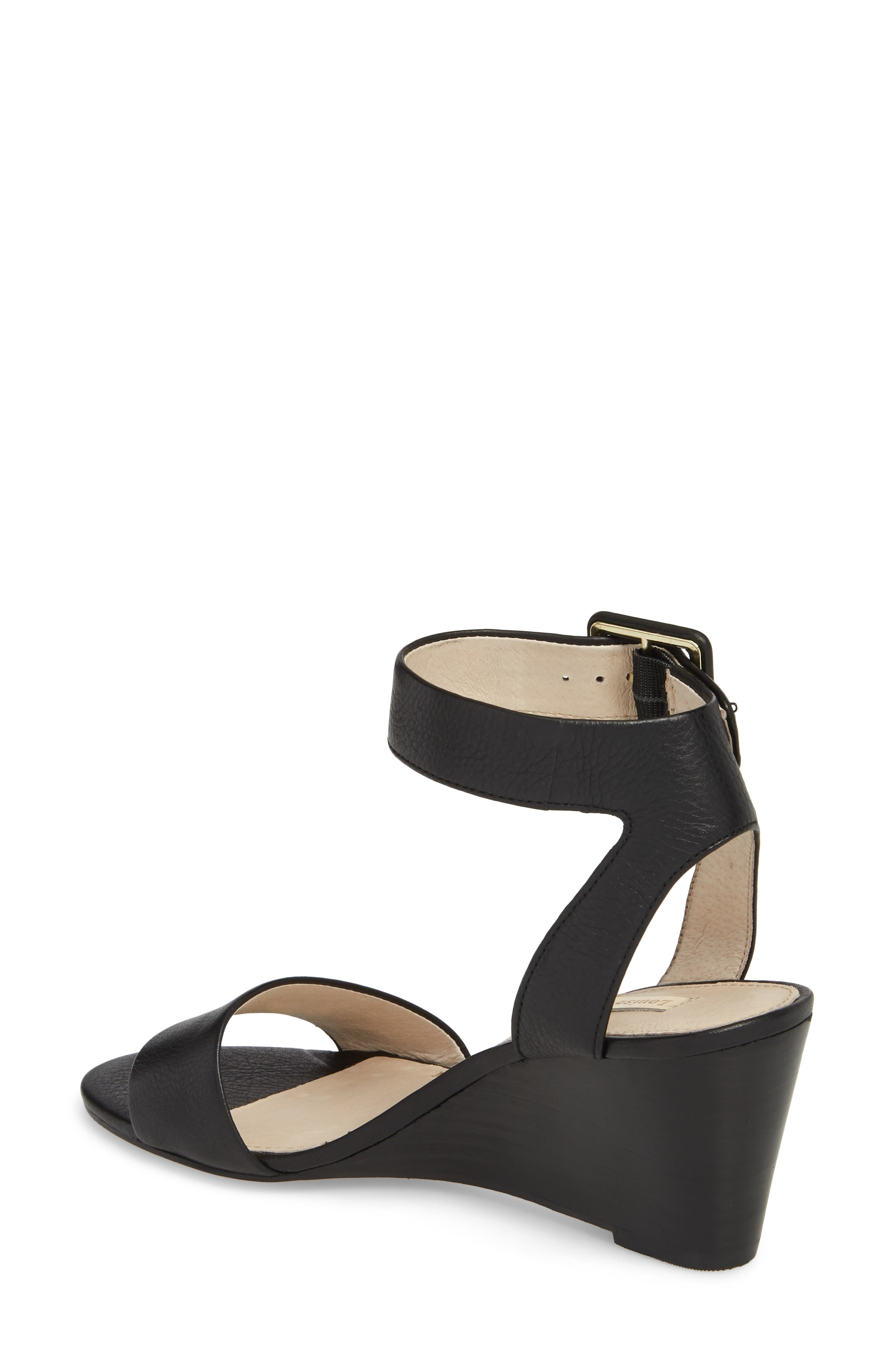 LOUISE ET CIE, Punya Wedge Sandal, Alternate thumbnail 2, color, BLACK LEATHER