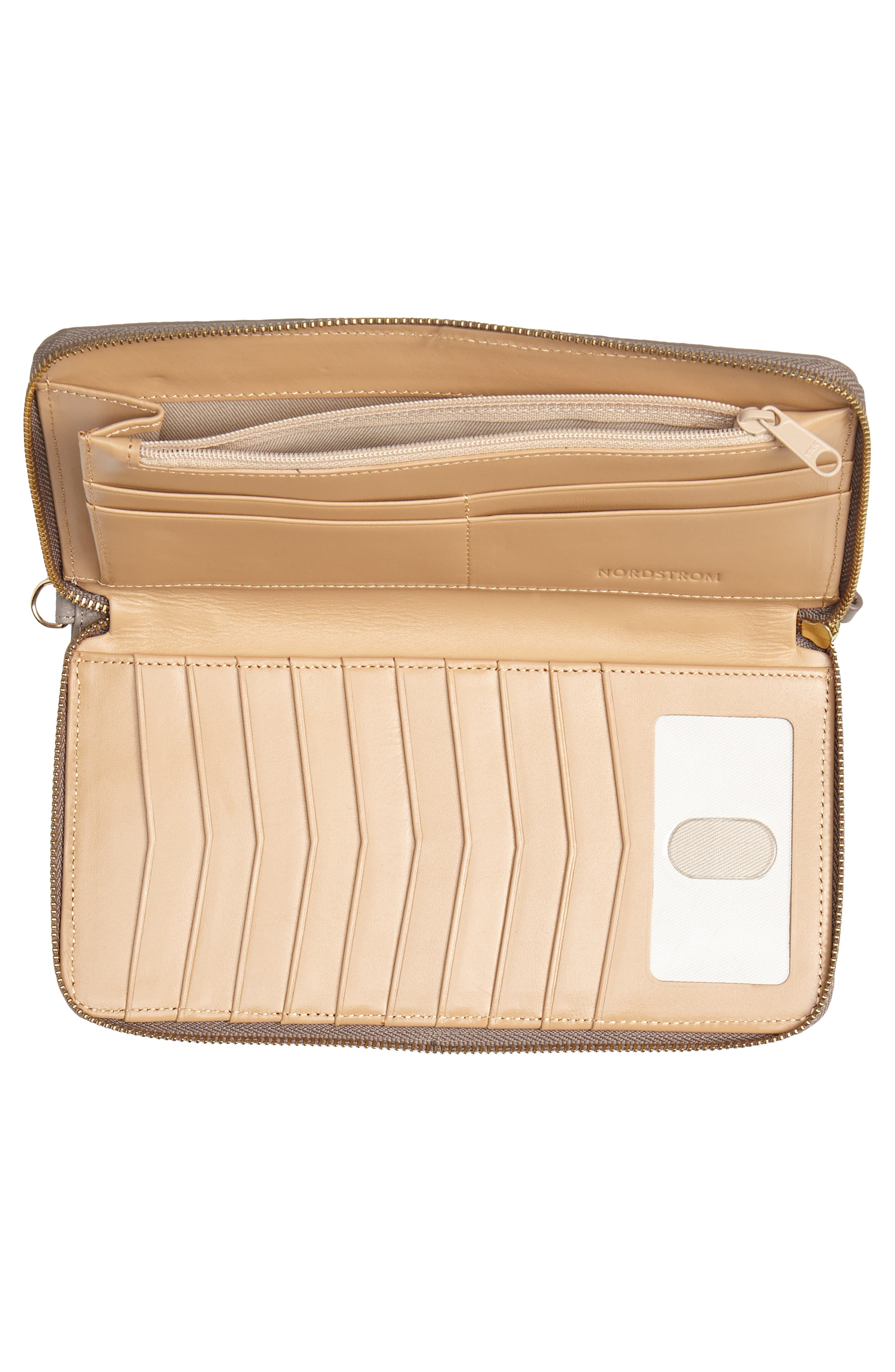 NORDSTROM, Zip Around Leather Continental Wallet, Alternate thumbnail 4, color, GREY TAUPE