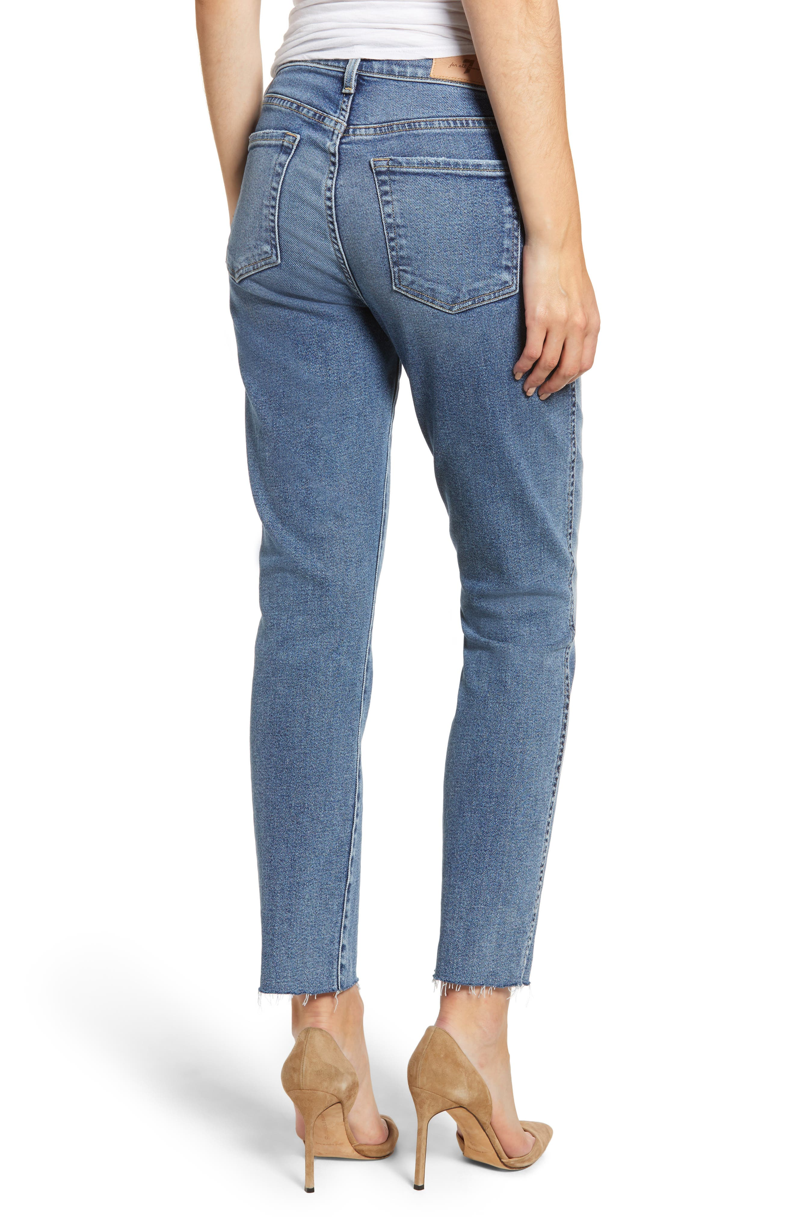 7 FOR ALL MANKIND<SUP>®</SUP>, Luxe Vintage Edie Cutoff Hem Straight Leg Jeans, Alternate thumbnail 2, color, LUXE VINTAGE MUSE