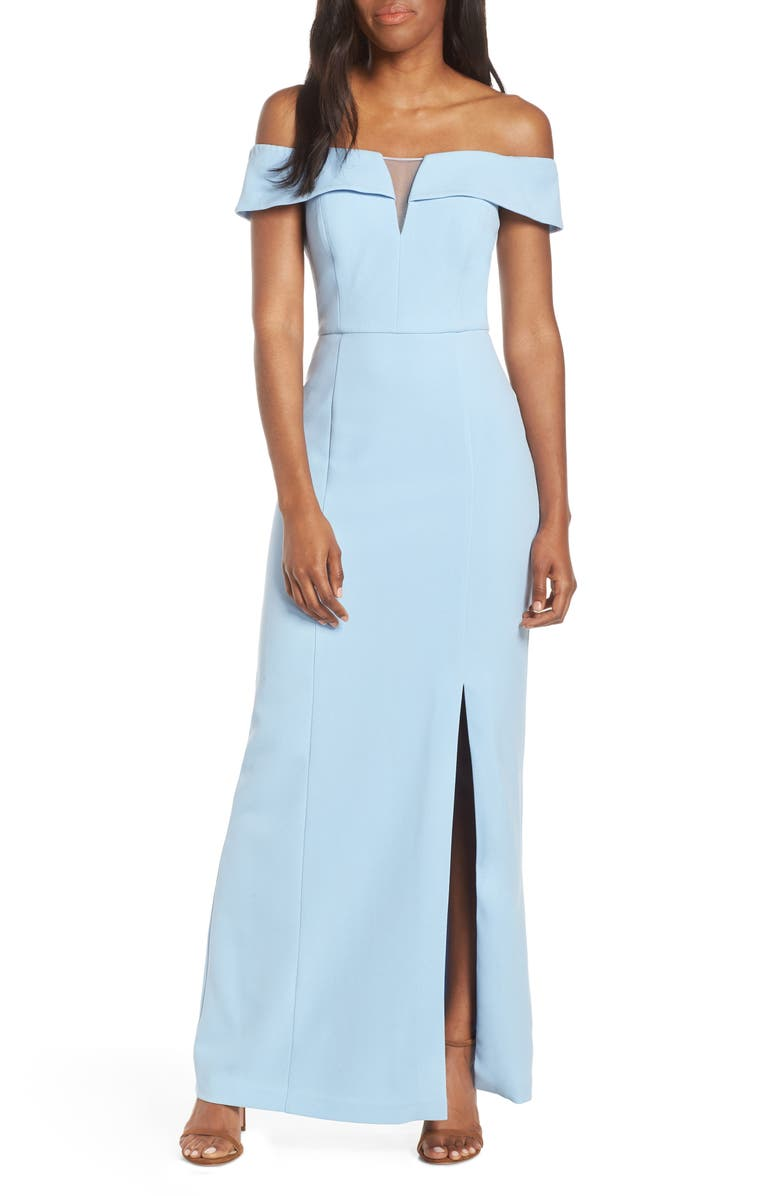 VINCE CAMUTO Notched Off the Shoulder Crepe Gown, Main, color, LIGHT BLUE