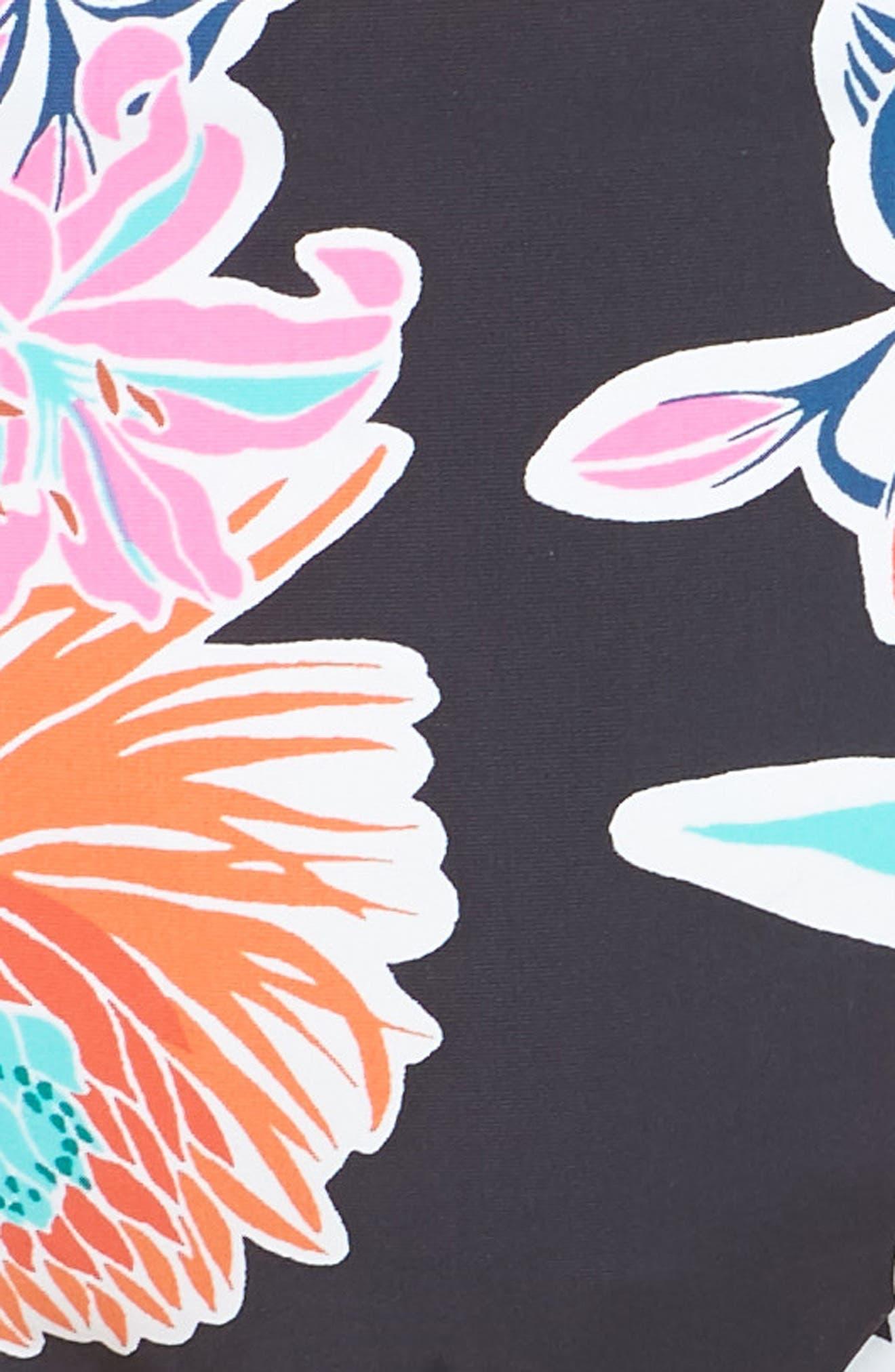 TRINA TURK, Shirred Floral Bikini Bottoms, Alternate thumbnail 5, color, BLACK MULTI