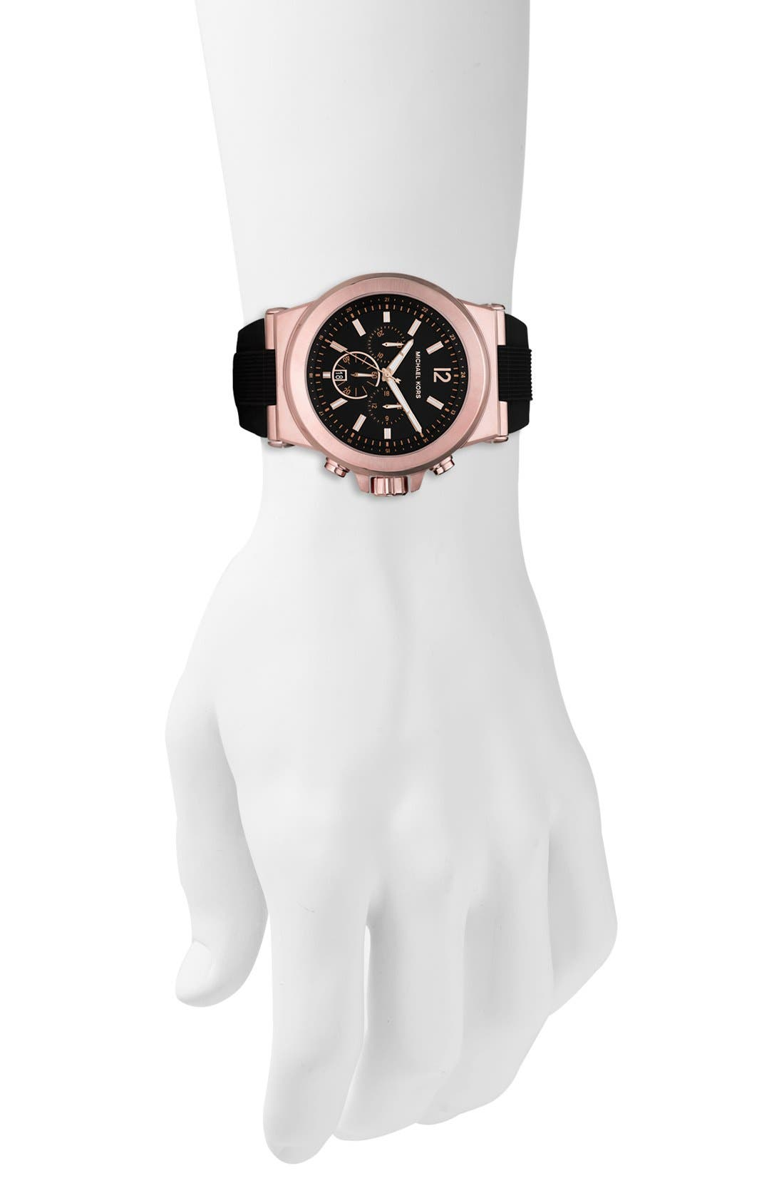 MICHAEL KORS, Chronograph Watch, 45mm, Alternate thumbnail 4, color, ROSE GOLD/ BLACK