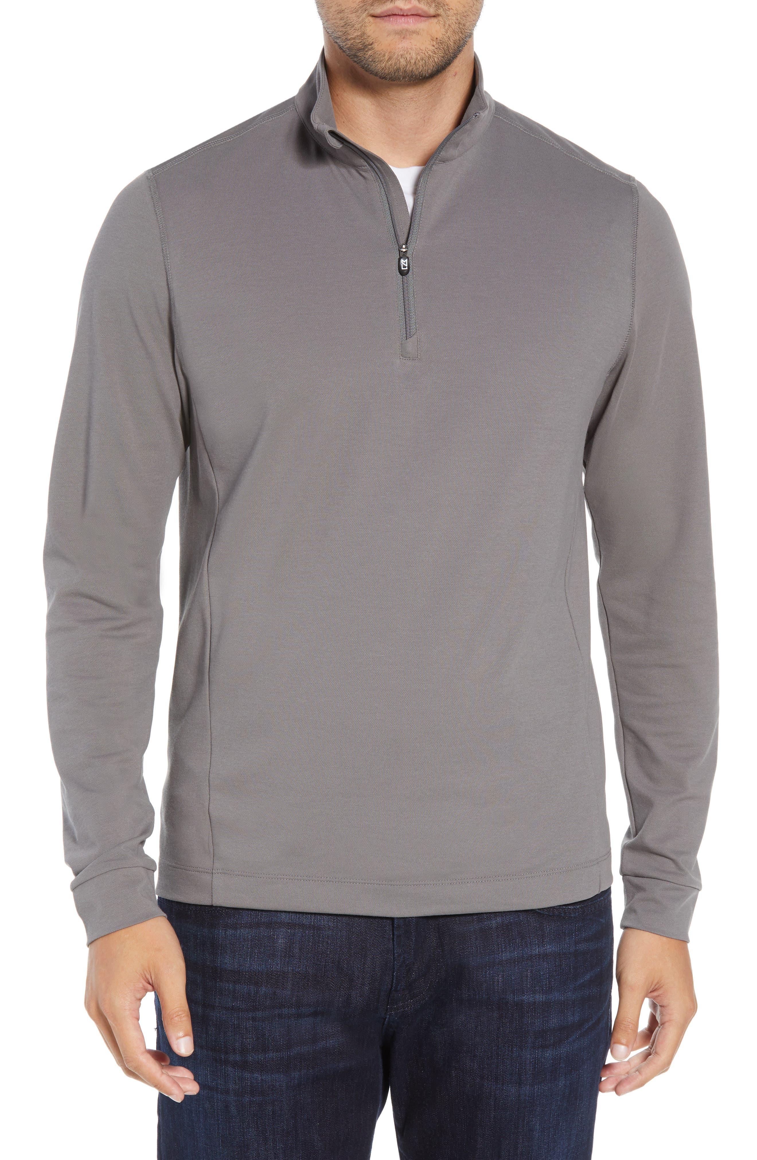 CUTTER & BUCK, Advantage Regular Fit DryTec Mock Neck Pullover, Main thumbnail 1, color, ELEMENTAL GREY