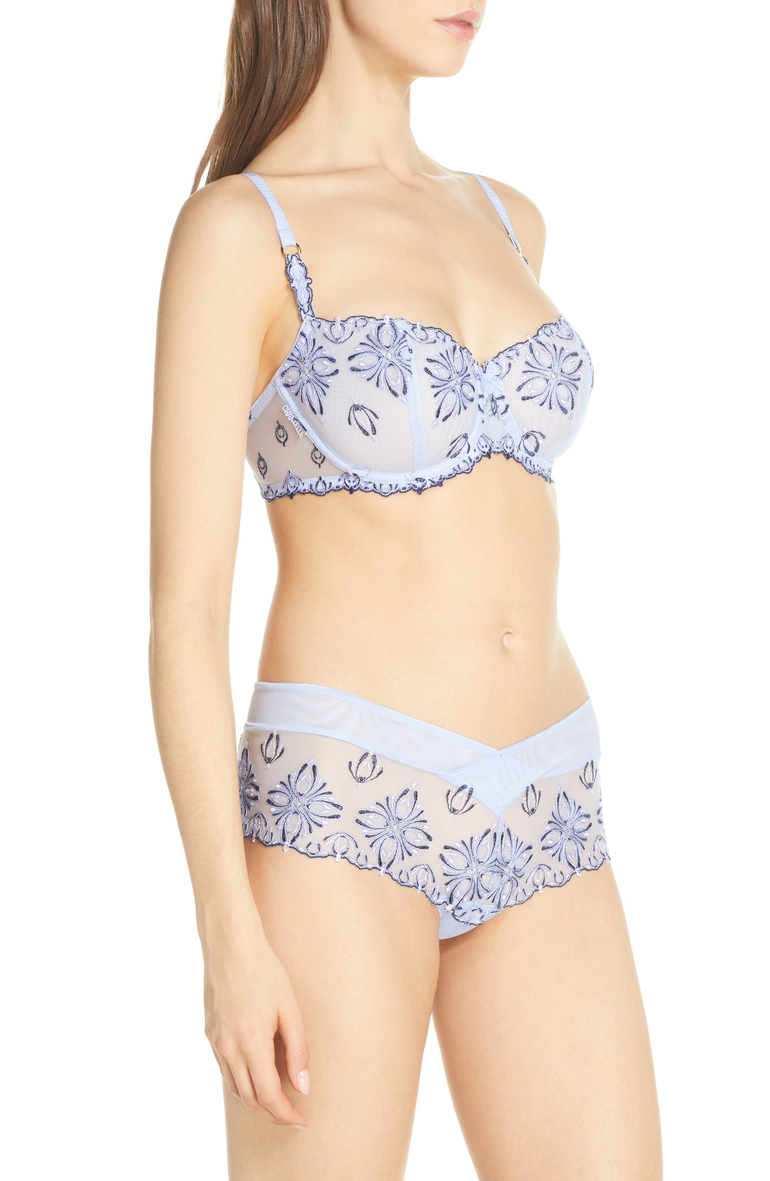 CHANTELLE LINGERIE, Champs-Élysées Underwire Demi Bra, Alternate thumbnail 9, color, SERENITY BLUE