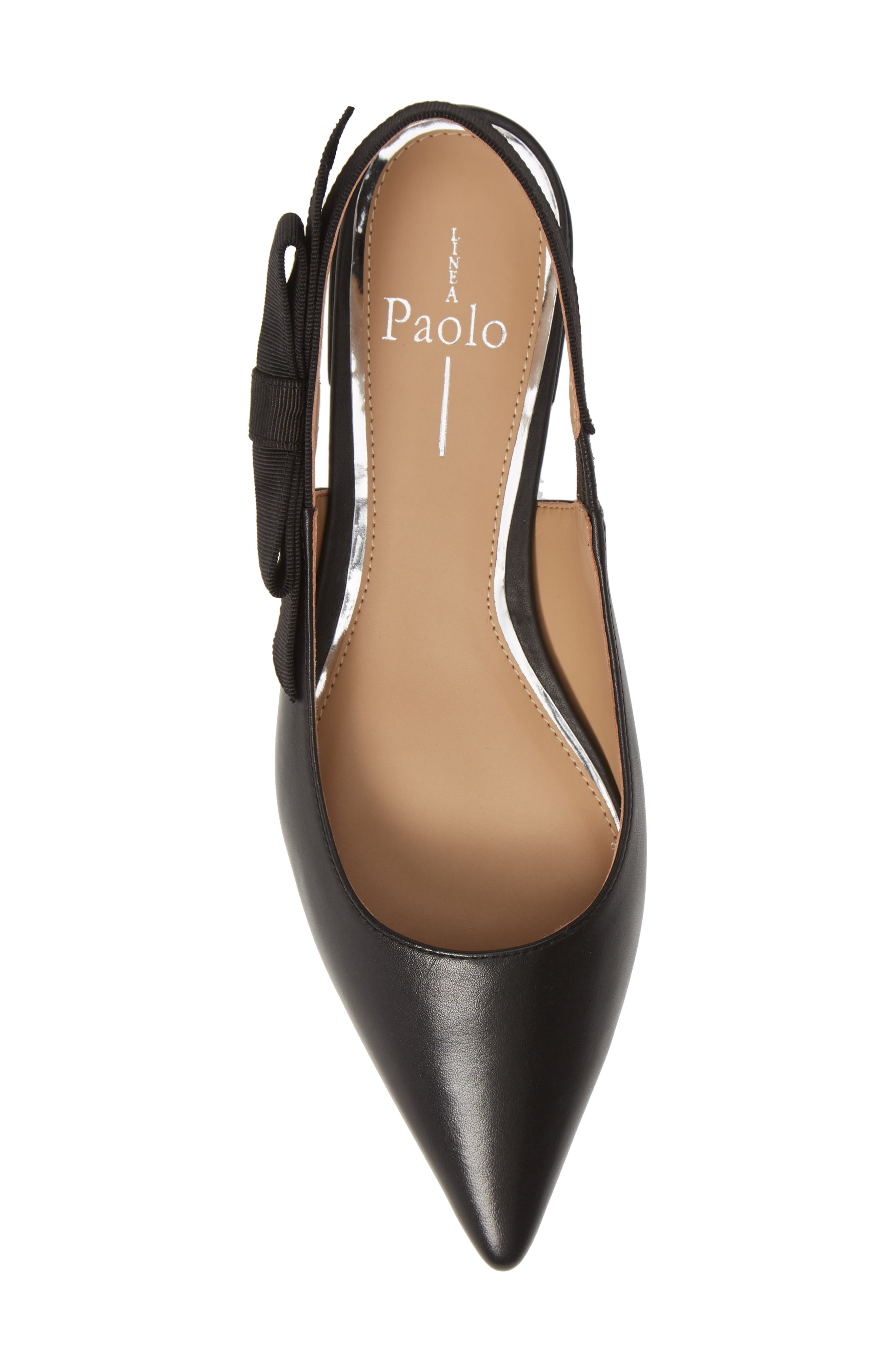 LINEA PAOLO, Darcy Bow Slingback Flat, Alternate thumbnail 5, color, BLACK LEATHER
