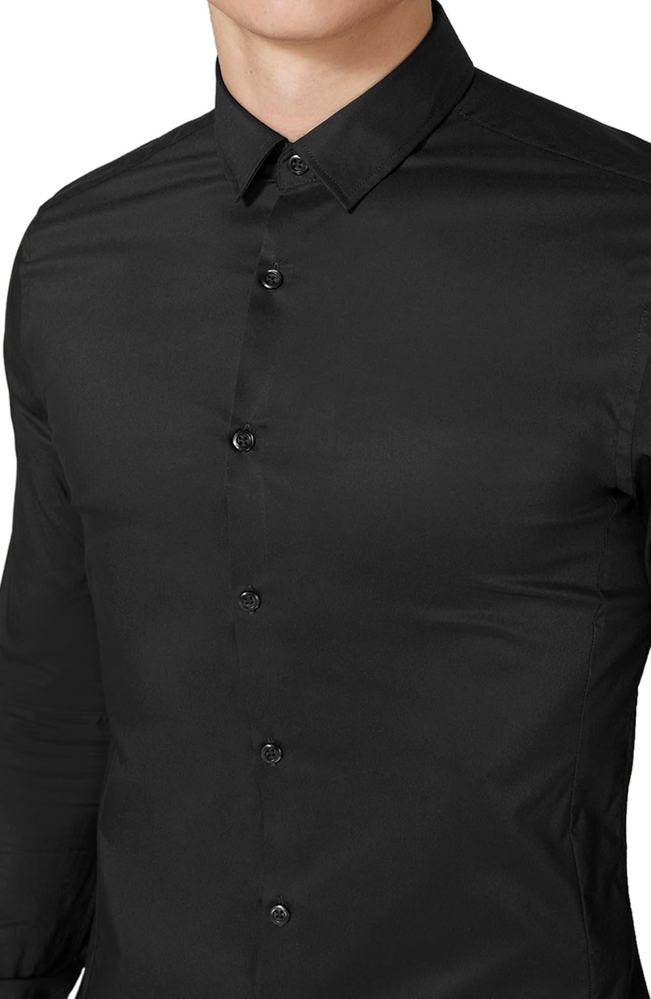 TOPMAN, Muscle Fit Stretch Poplin Shirt, Alternate thumbnail 3, color, BLACK